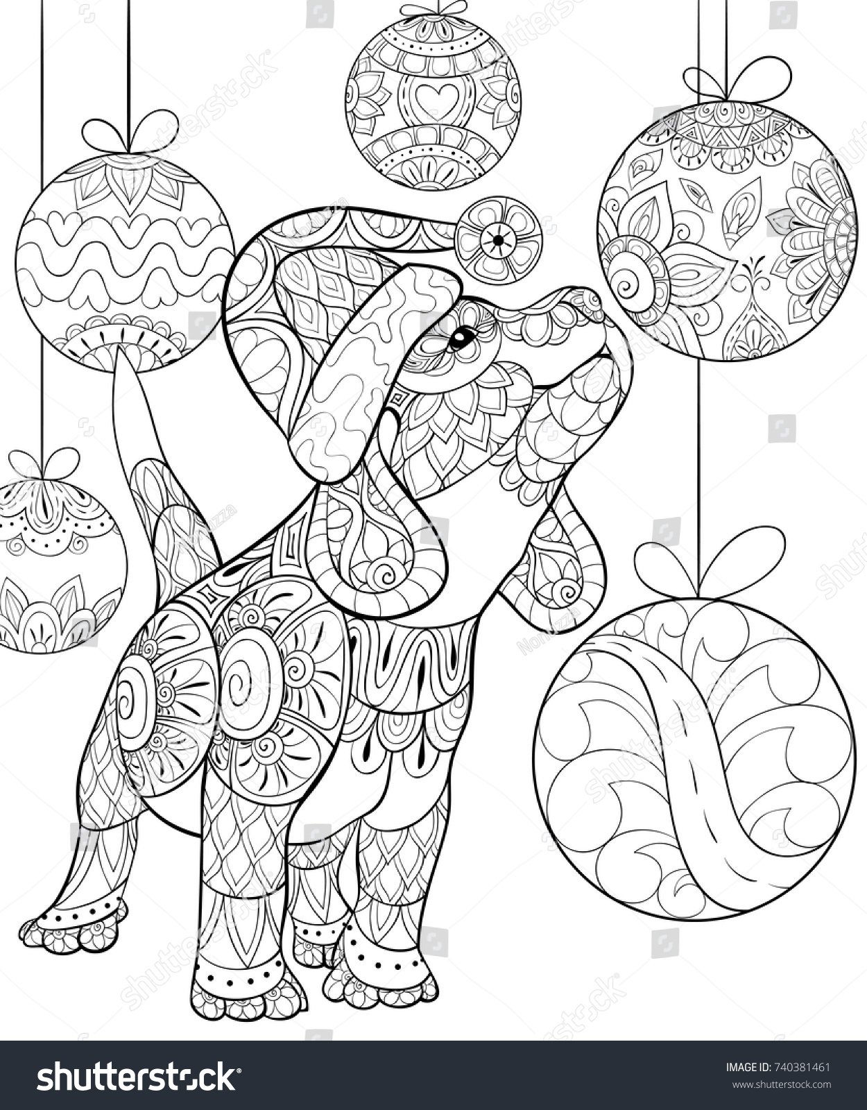 Adult Coloring Pagebook Cute Christmas Puppydog Stock ...