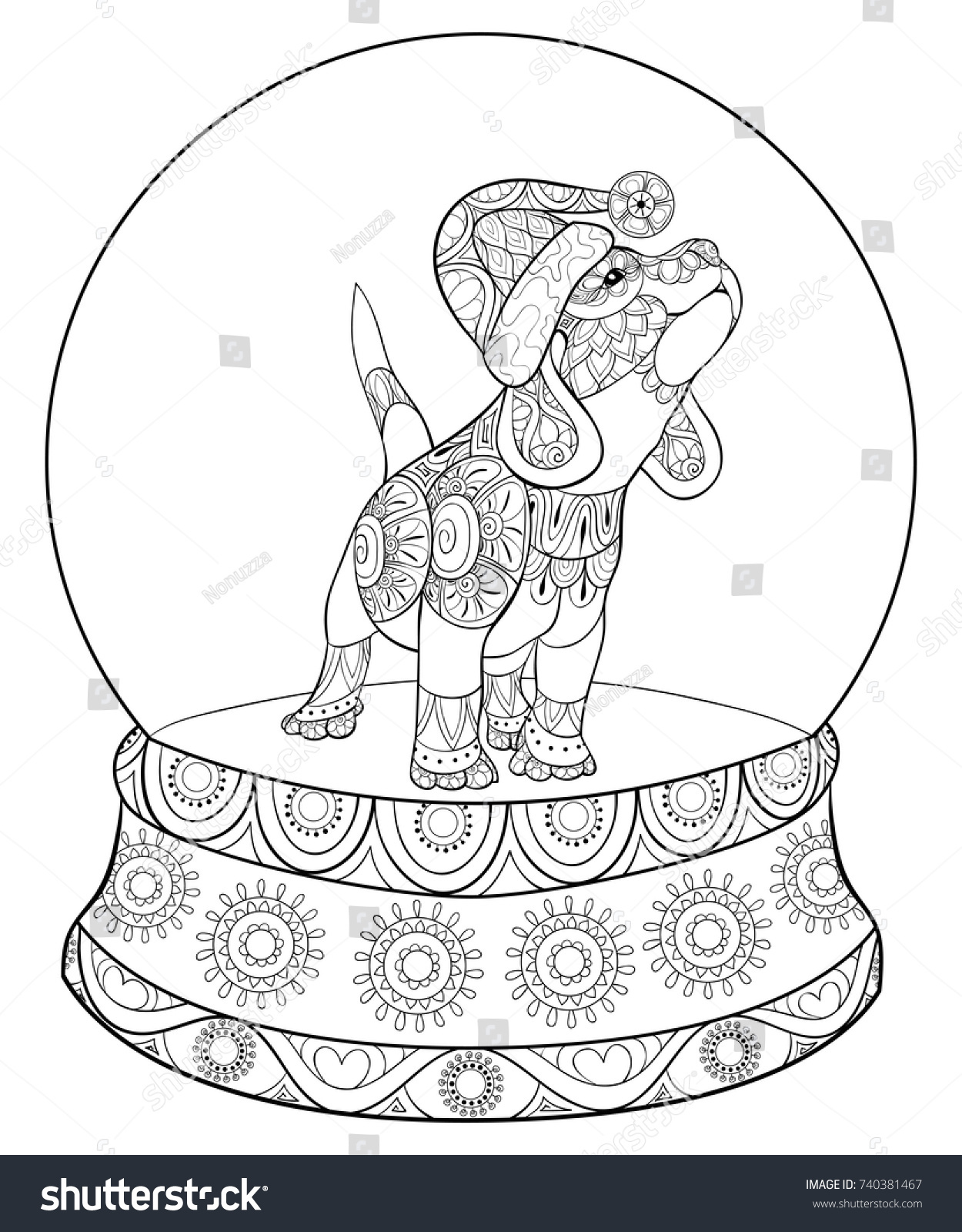 Adult Coloring Pagebook Cute Christmas Puppydog Stock Photo (Photo ...