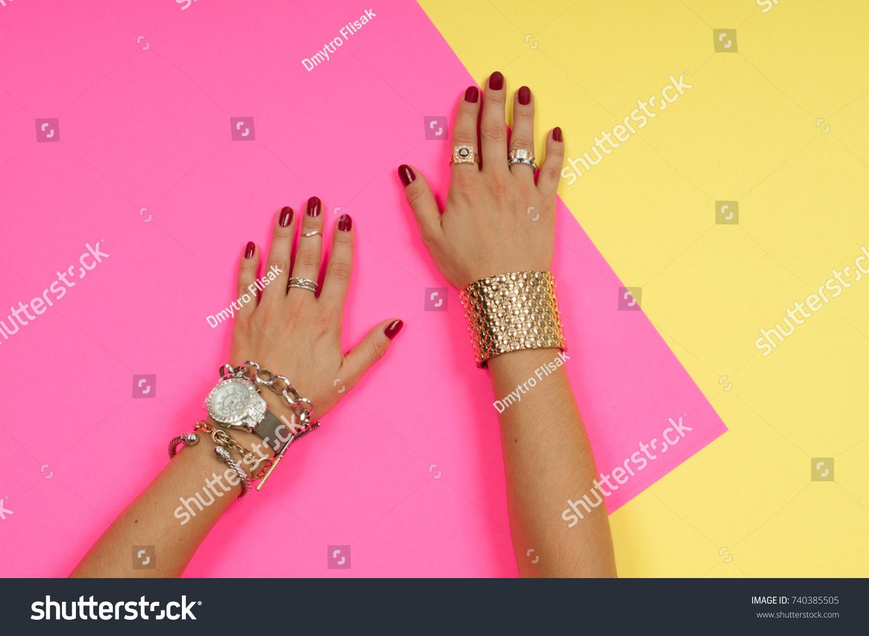 Female Hands Jewelry Fashion Accessories Wrist Stock Photo ...