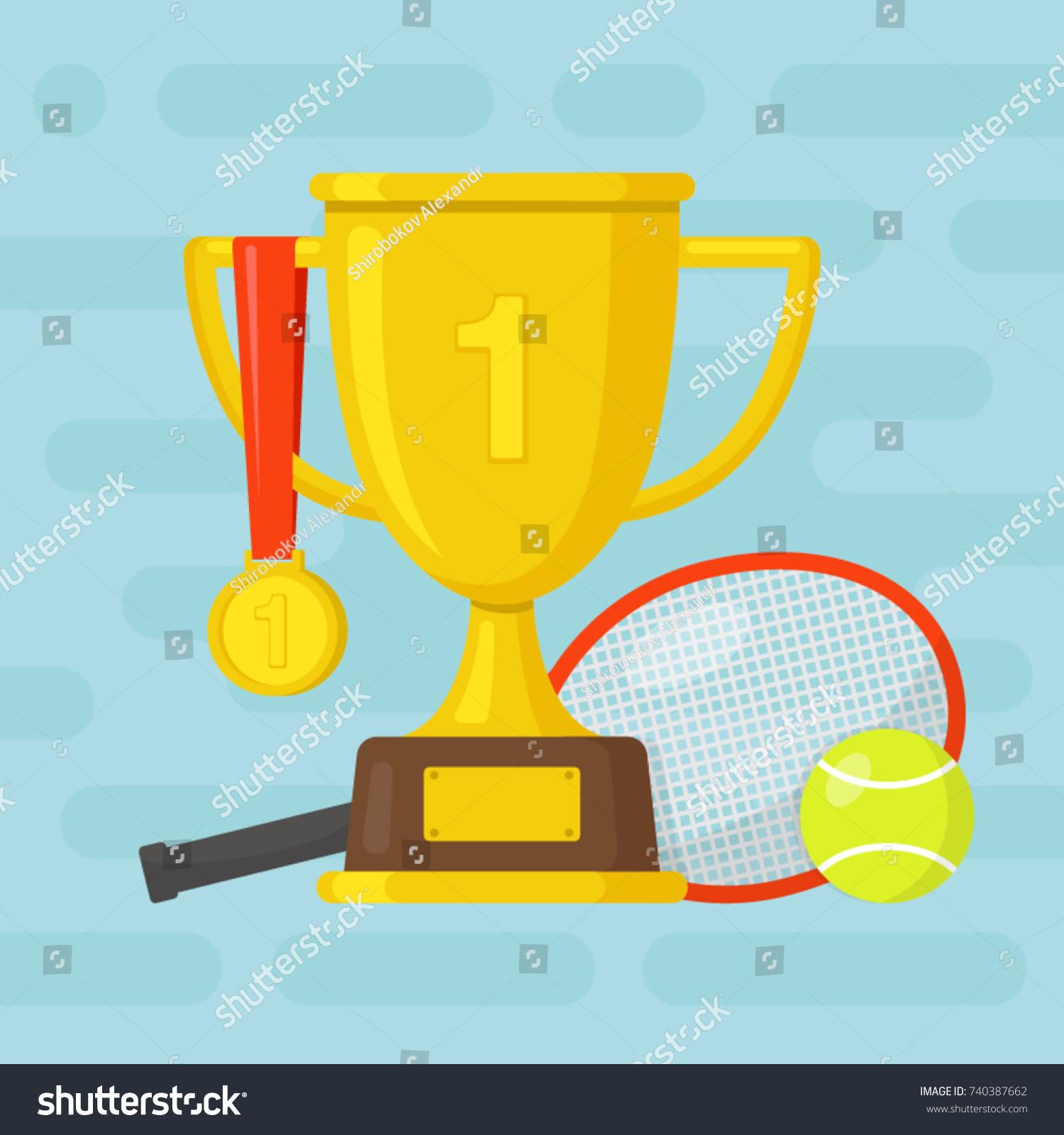 Tennis Racket Ball Gold Winner Cup Stock Vector Royalty Free