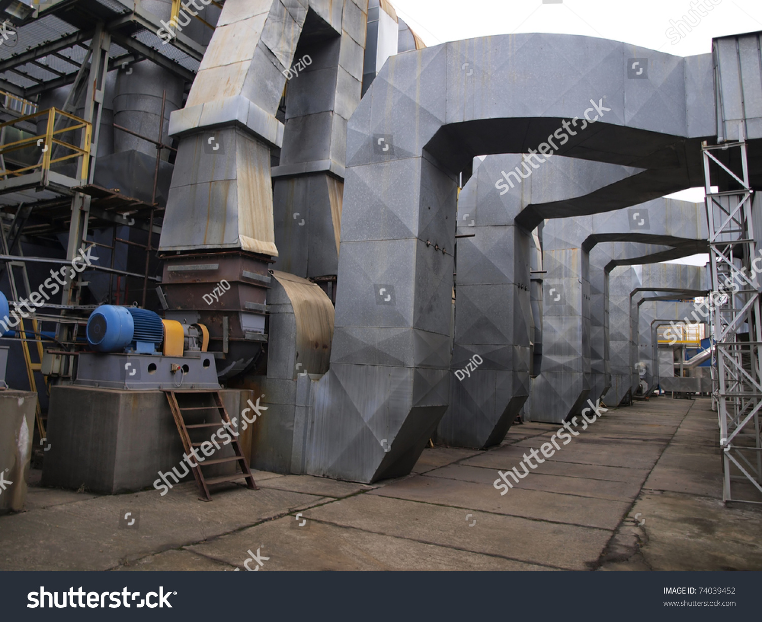Plant Flue Gas From Boilers Exhaust Fans And Ducts Stock