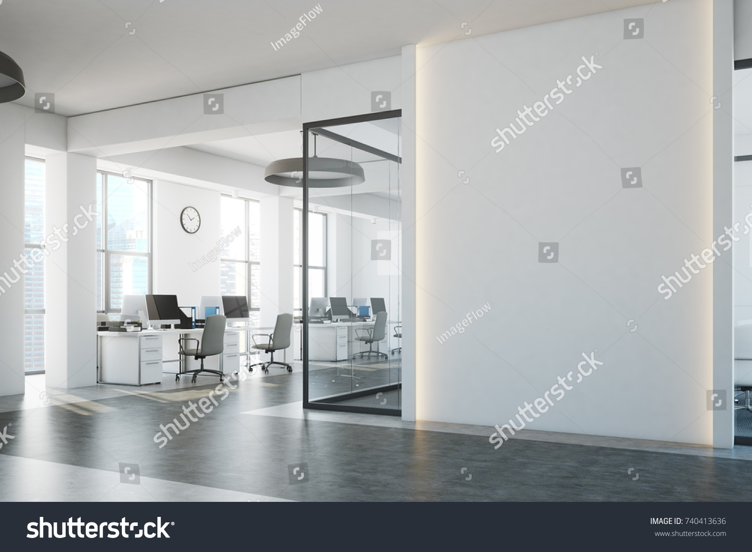 white office interior. White Brick Open Space Office Interior With A Concrete Floor, Blank Wall Fragment And