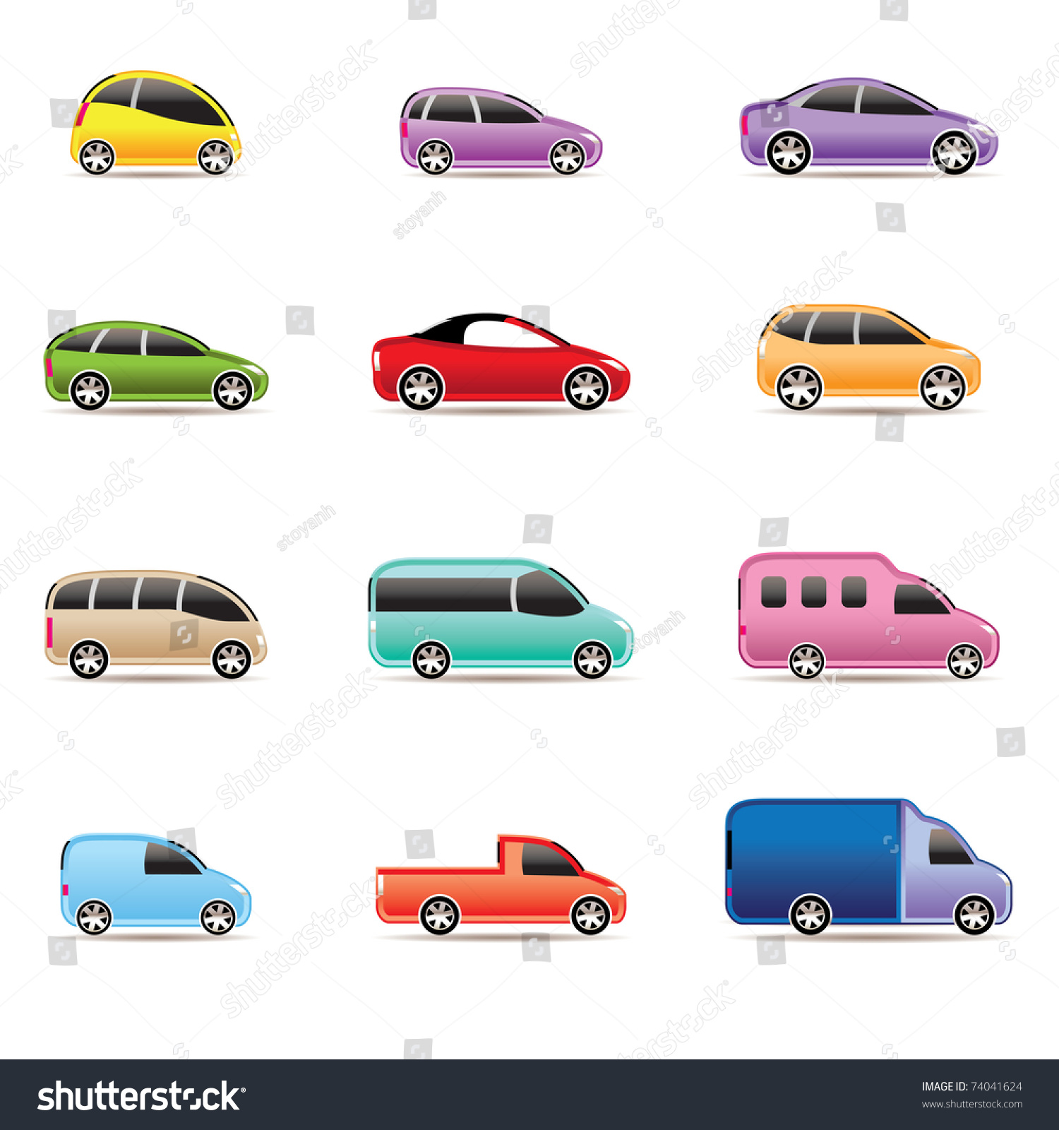 Different Types Cars Icons Vector Icon Stock Vector
