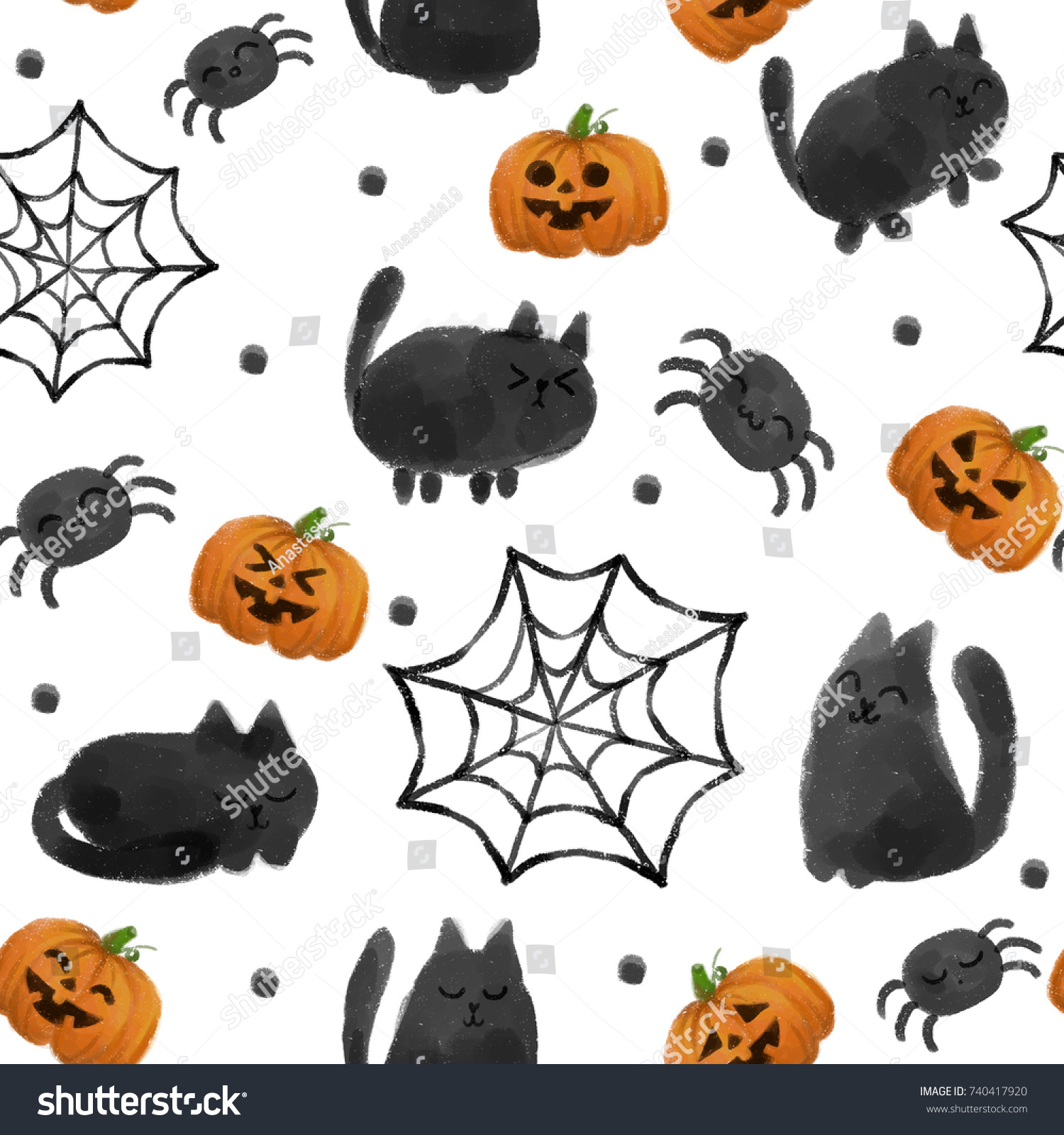 Halloween Pattern Cute Spider Black Cat Stock Illustration 740417920 ...