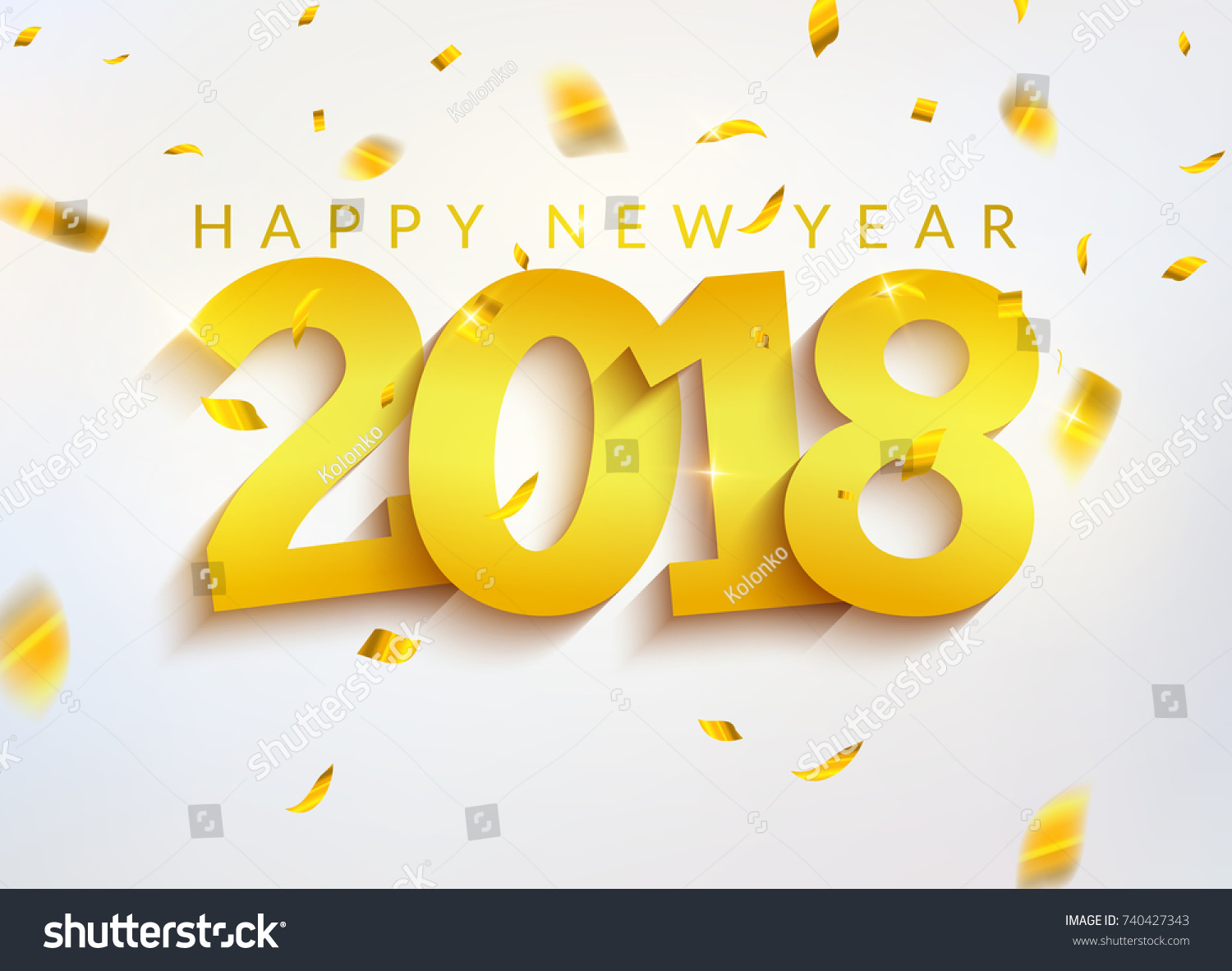 2018 New Year Greeting Card Confetti Stock Vector Royalty Free