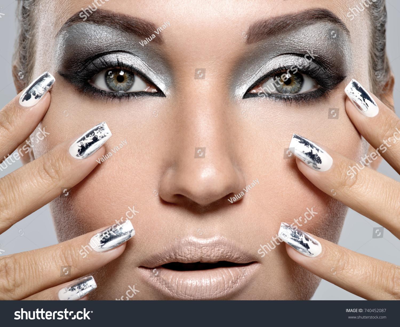 Beautiful Girl Silver Makeup Metal Nails Stock Photo (Royalty Free ...