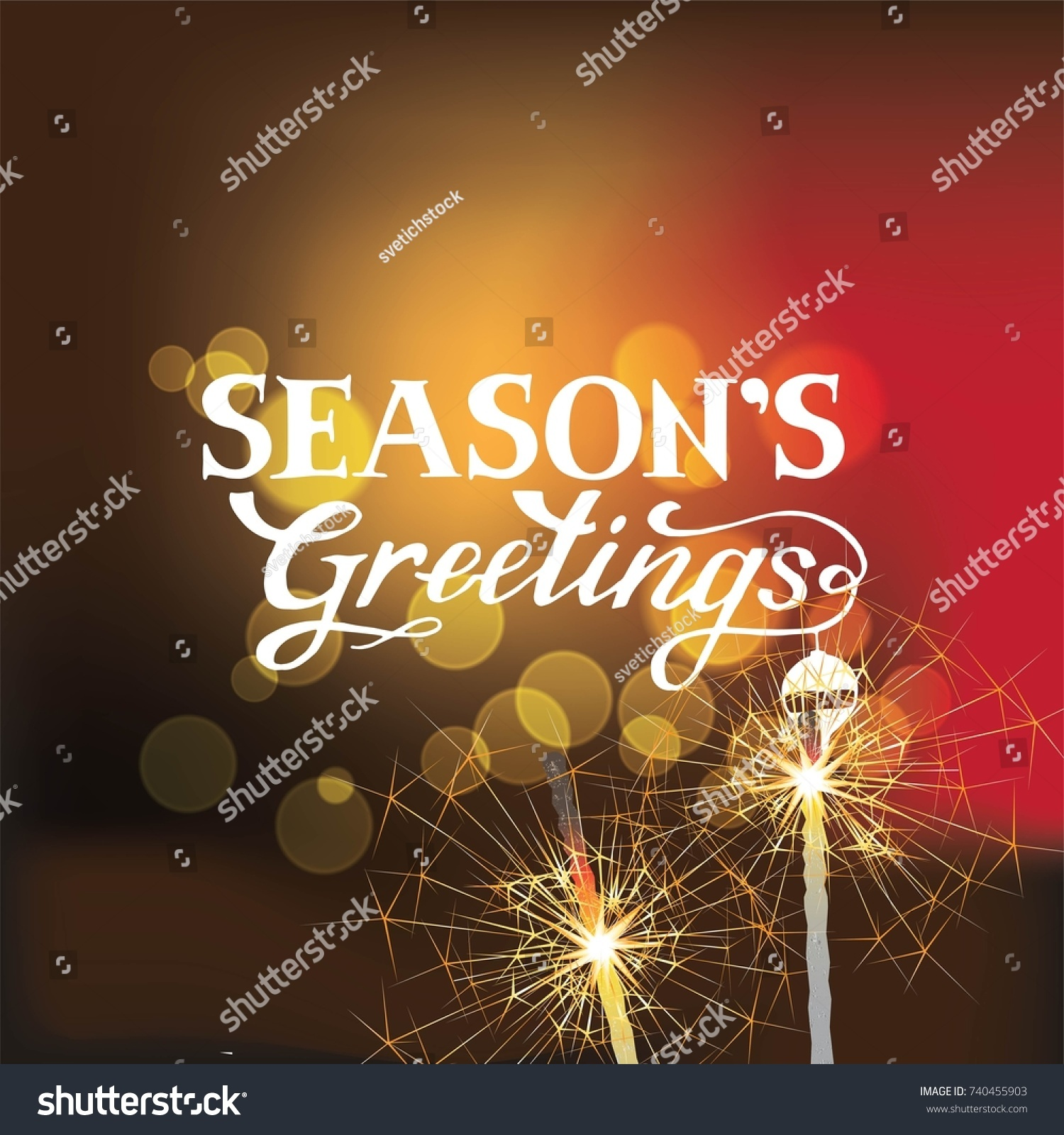Seasons Greetings Hand Lettering Poster Card Stock Vector Royalty