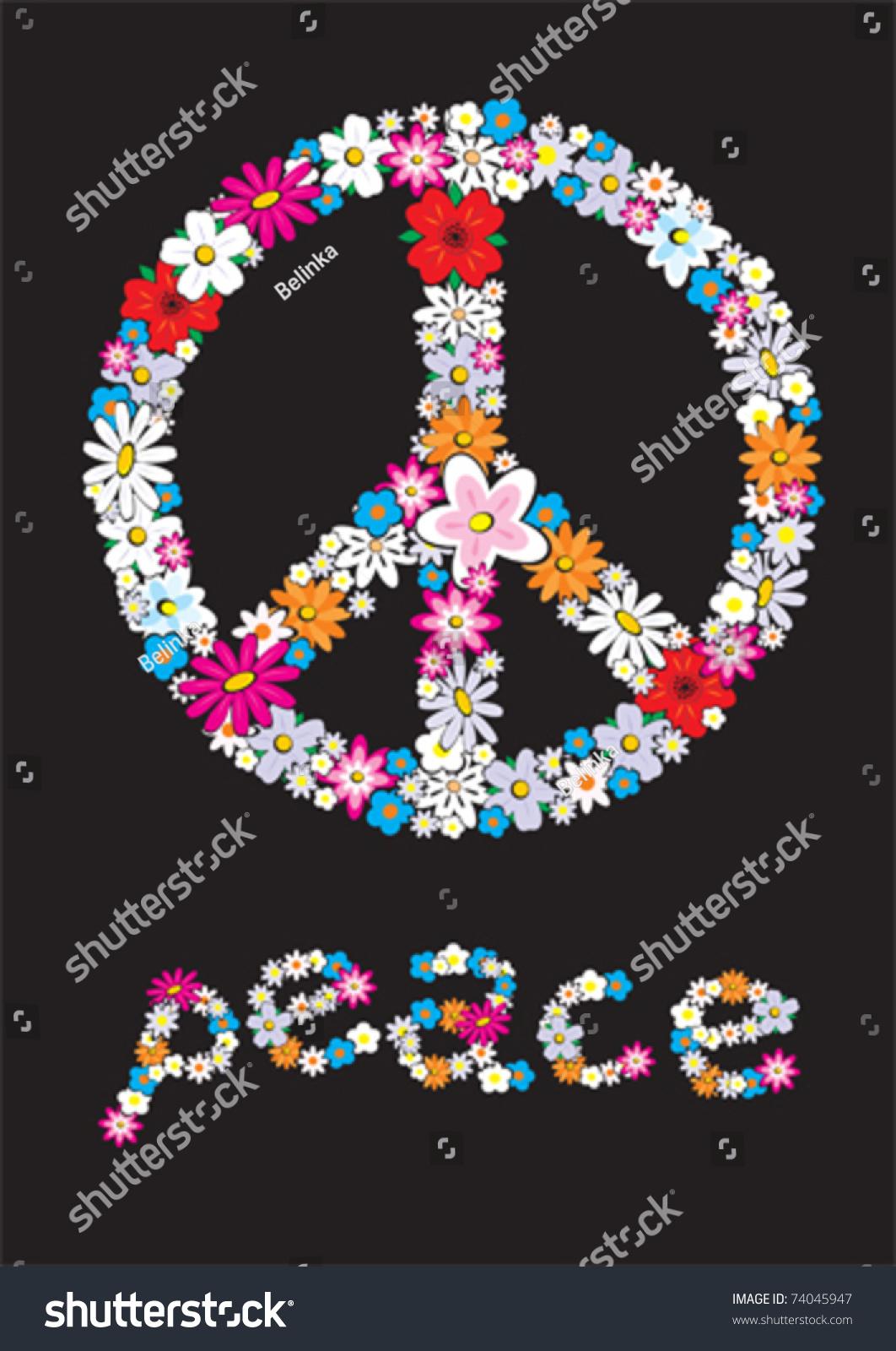 Vector Peace Flower Symbol Stock Vector 2018 74045947 Shutterstock