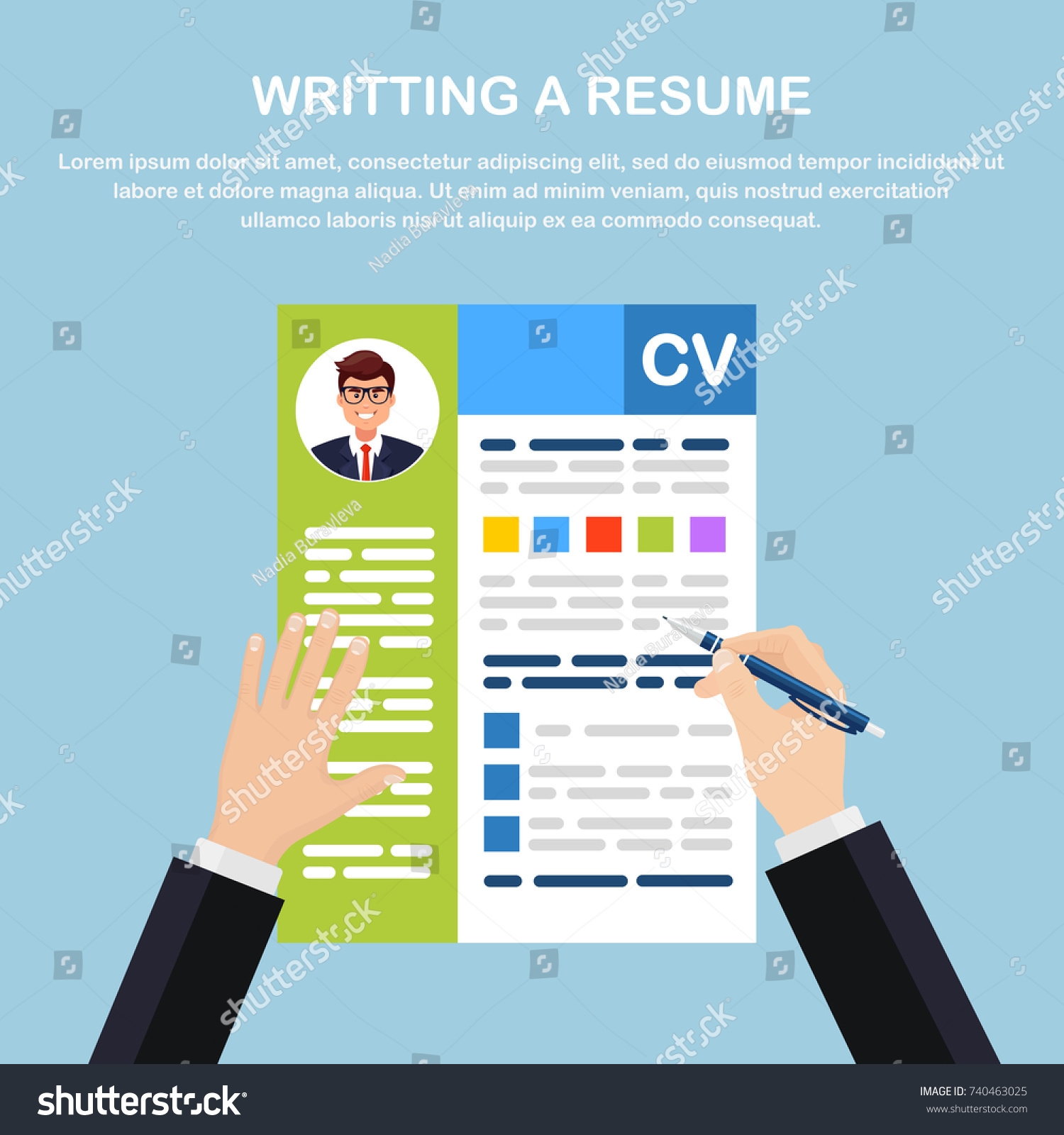 writing resume cv application business man stock vector 740463025