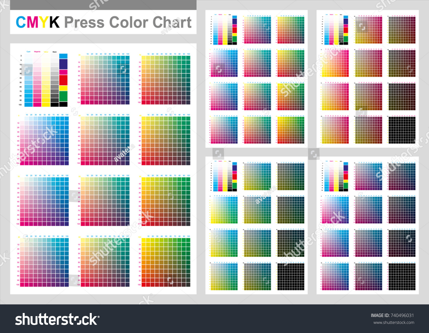 Cmyk Press Color Chart Vector Color Stock Vector Royalty Free