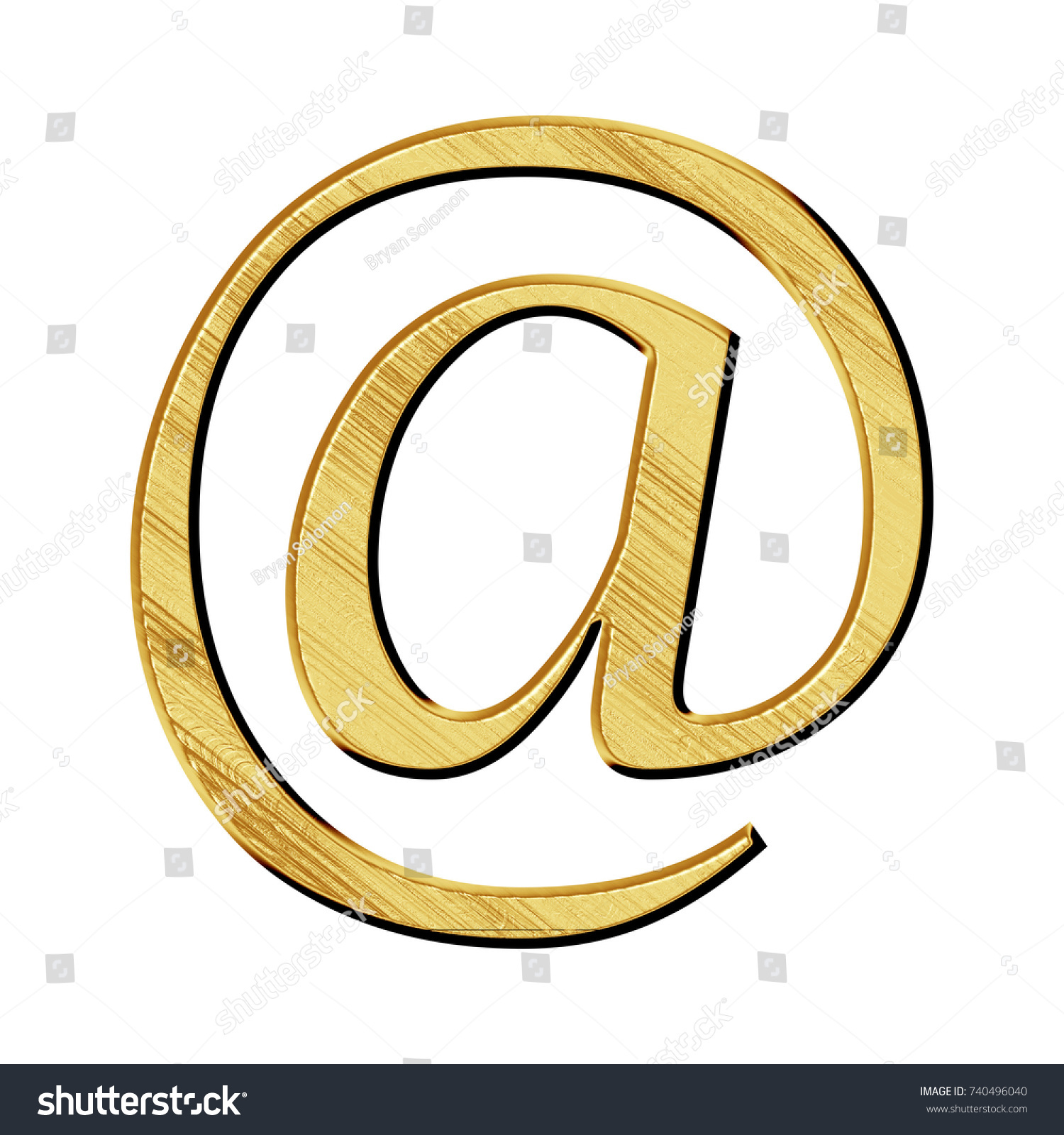 Etched Gold Metal Style At Sign Or Email Address Symbol In A 3d