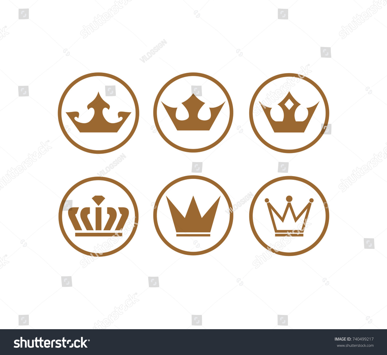 Circle Gold Crown King Symbol Logo Stock Vector Royalty Free