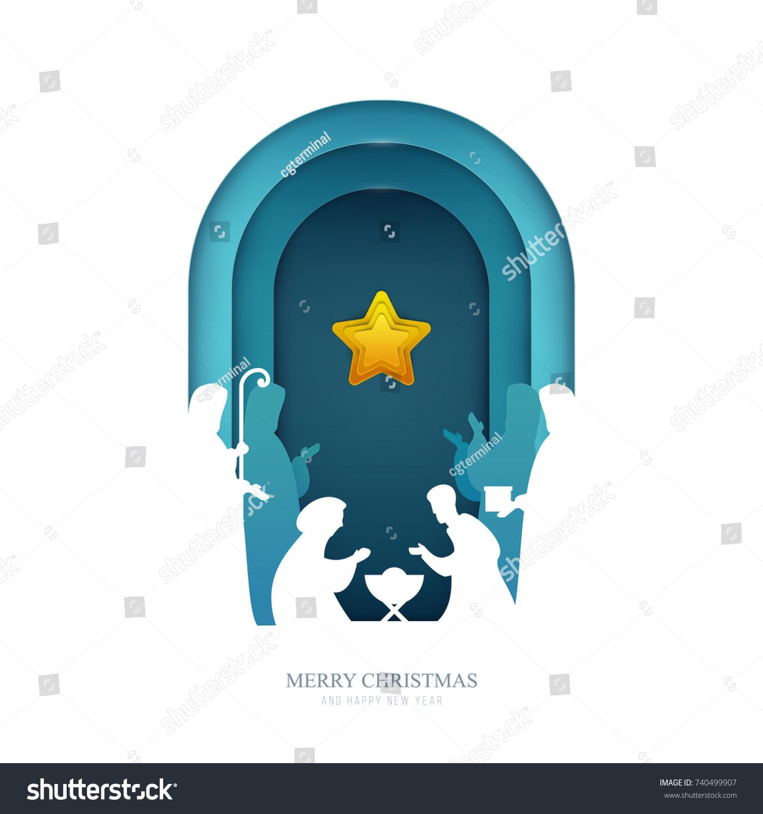 Baby Jesus Born Bethlehem Paper Cut Stock-Vektorgrafik (Lizenzfrei ...