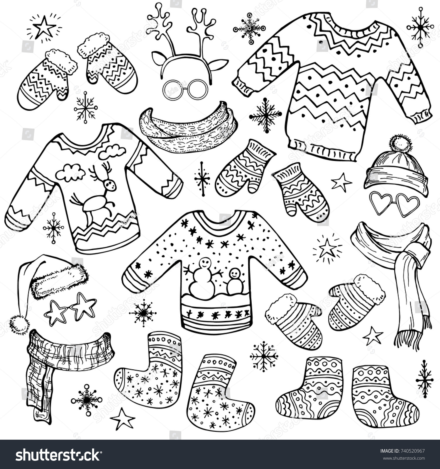 Holiday Collection Set Christmas Clothes Mittens Stock Vector ...