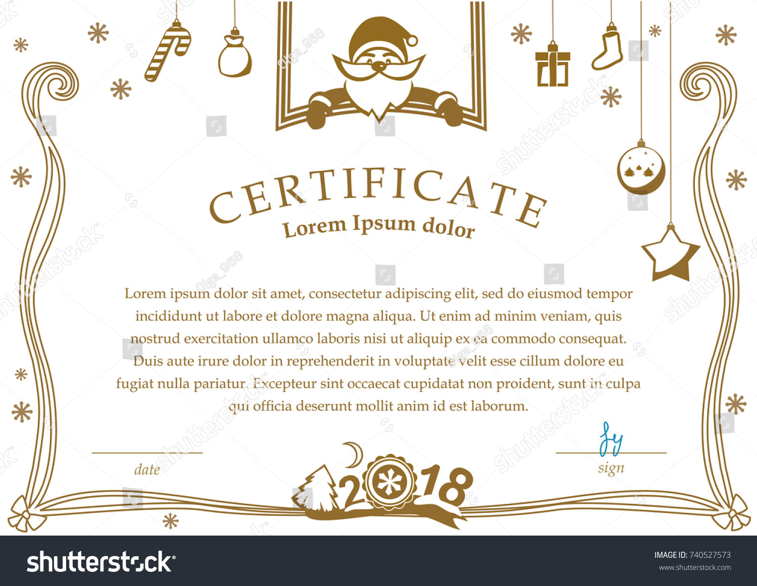 Christmas Certificate Santa Christmas Decorations On Stock Vector