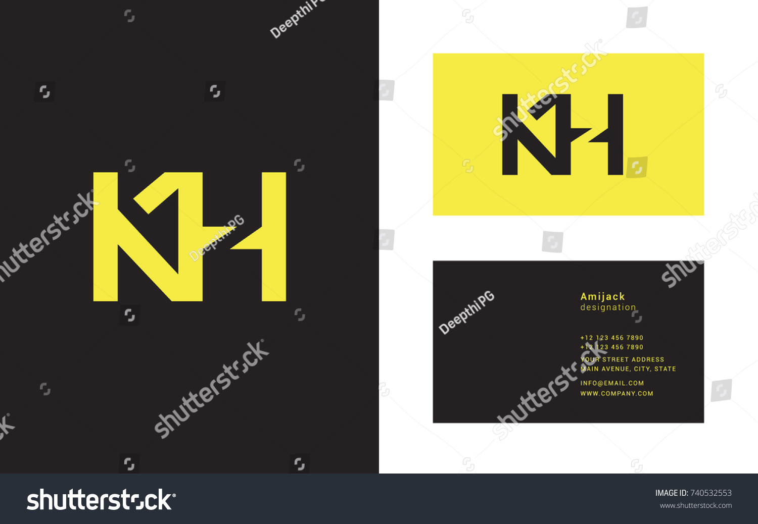 K h double letter logo design stock vector 740532553 shutterstock k h double letter logo design with business card template magicingreecefo Image collections