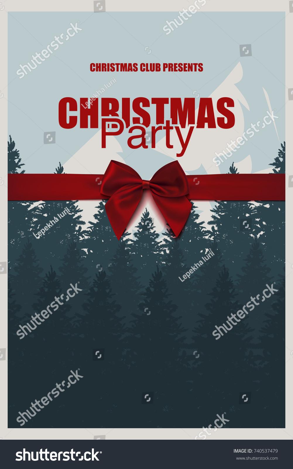 Winter Party Brochure Template Elegant Christmas Stock Vector ...