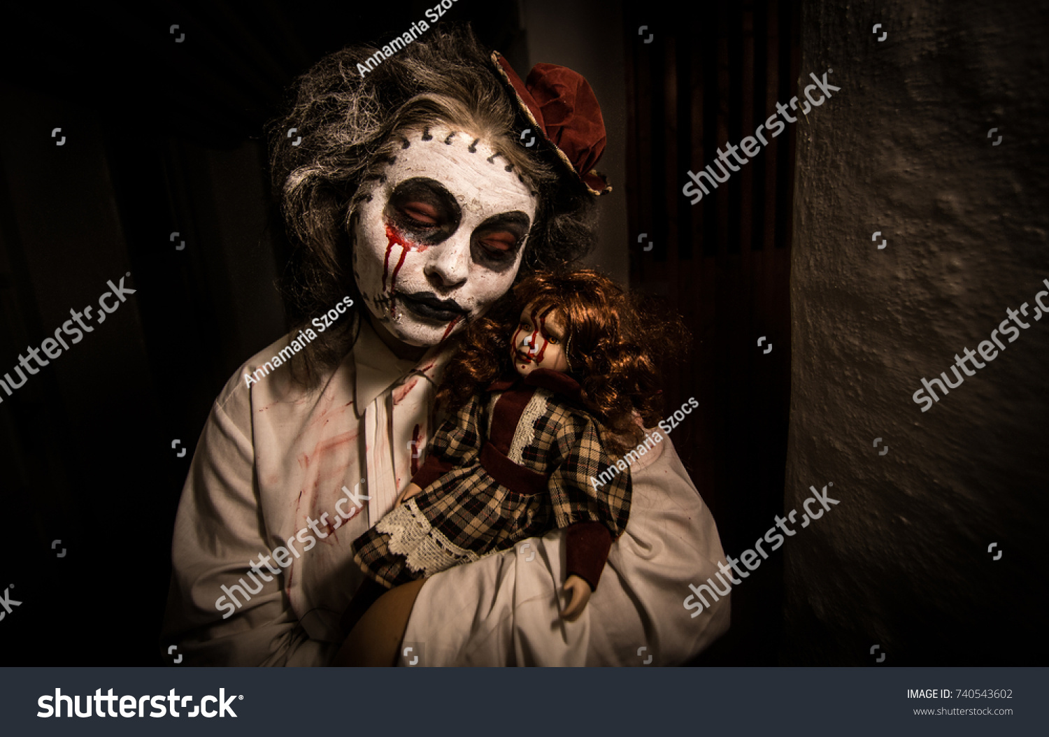 horror movie scene scary woman bloody stock photo (edit now