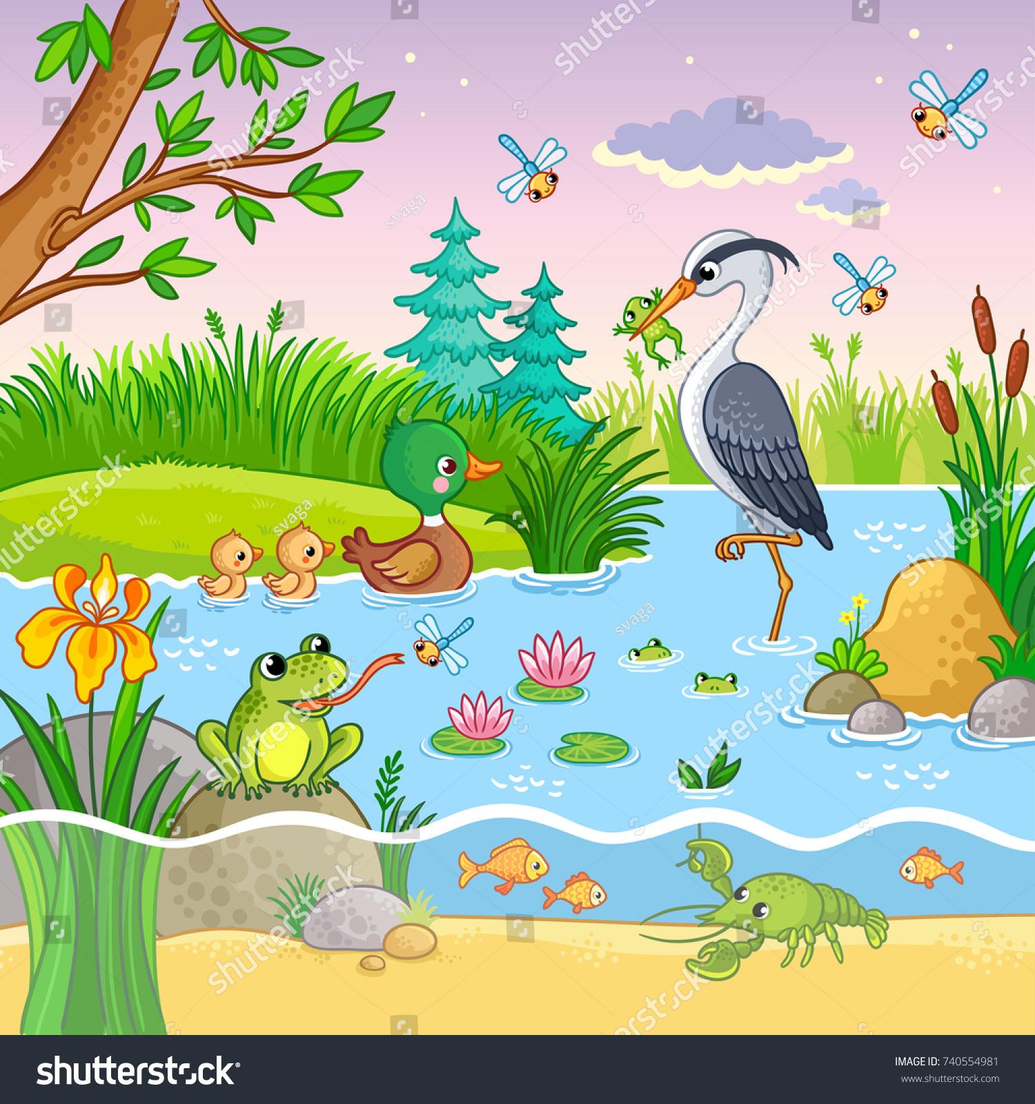 vector background nature animals childrens cartoon stock vector