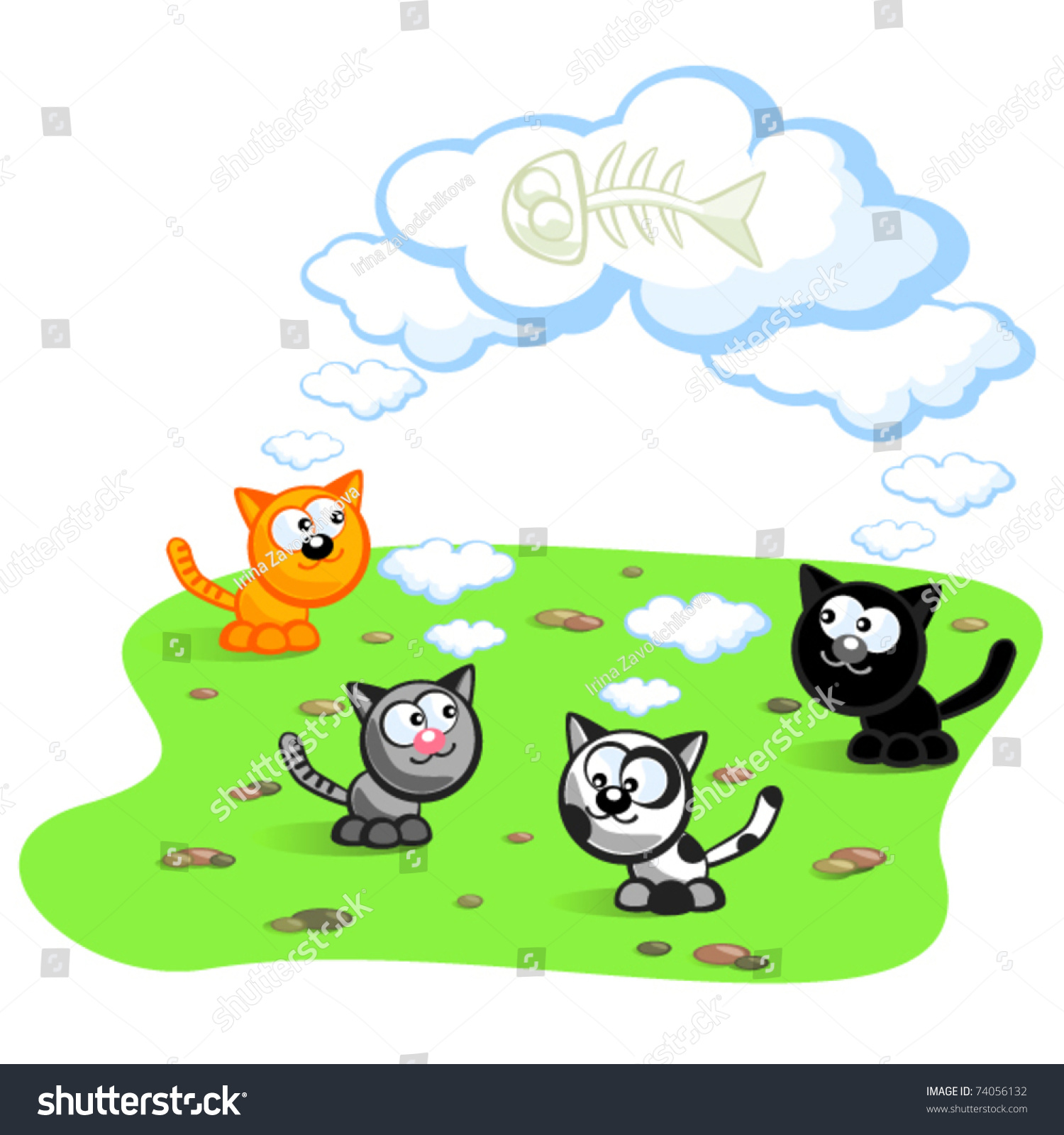 Four cats dream about eating fish stock vector 74056132 for Dreaming of eating fish