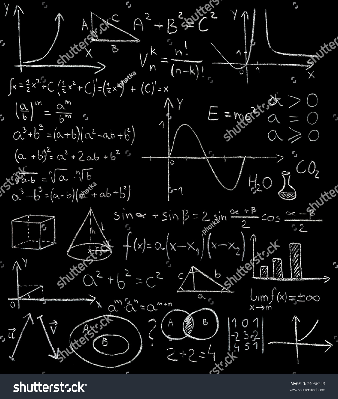 maths formulas on blackboard stock photo 74056243
