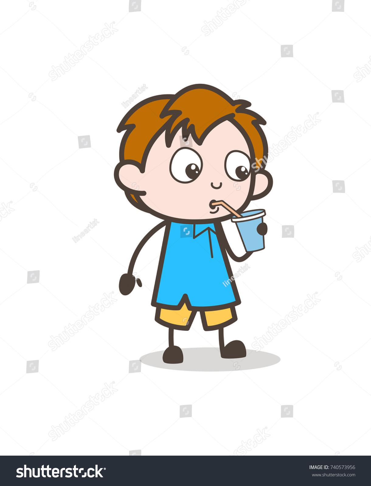 thirsty boy drinking water cute cartoon stock vector royalty free