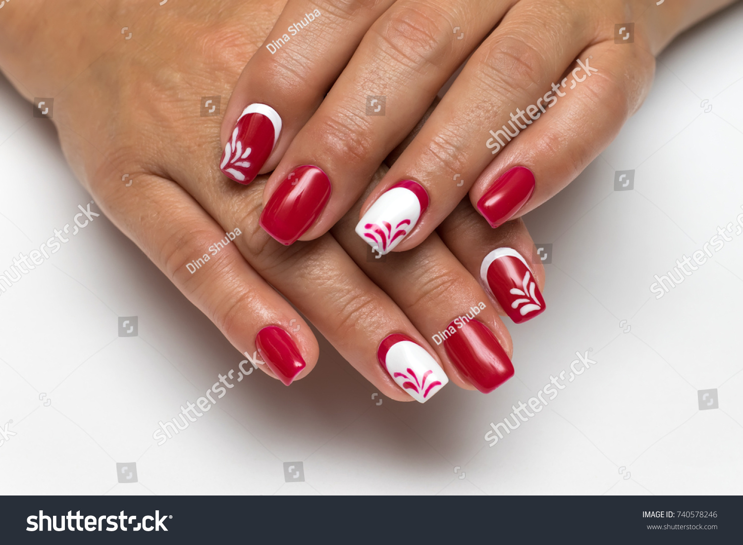 Red White Manicure Monograms On Square Stock Photo (Edit Now ...