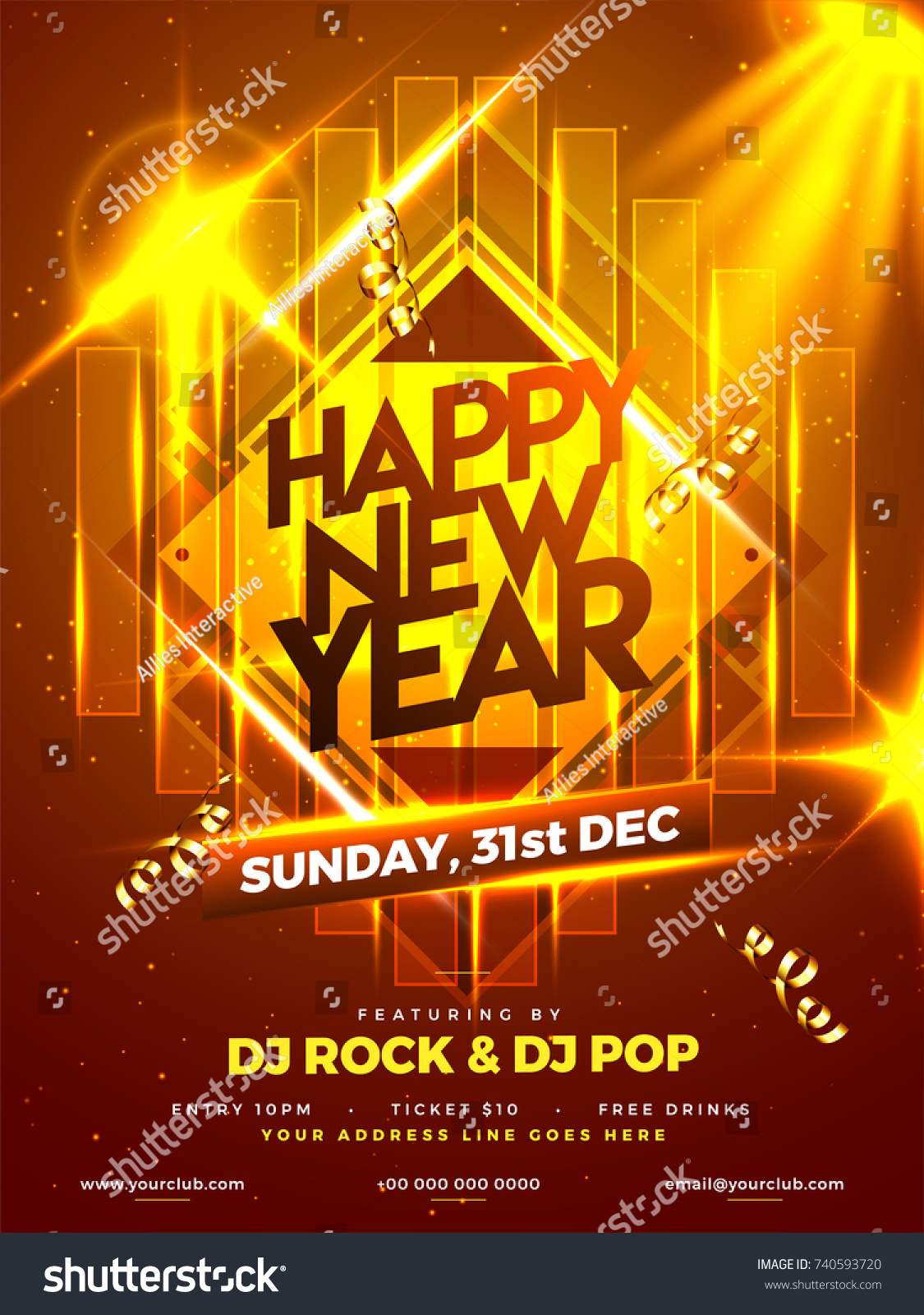 happy new year party poster banner or flyer design