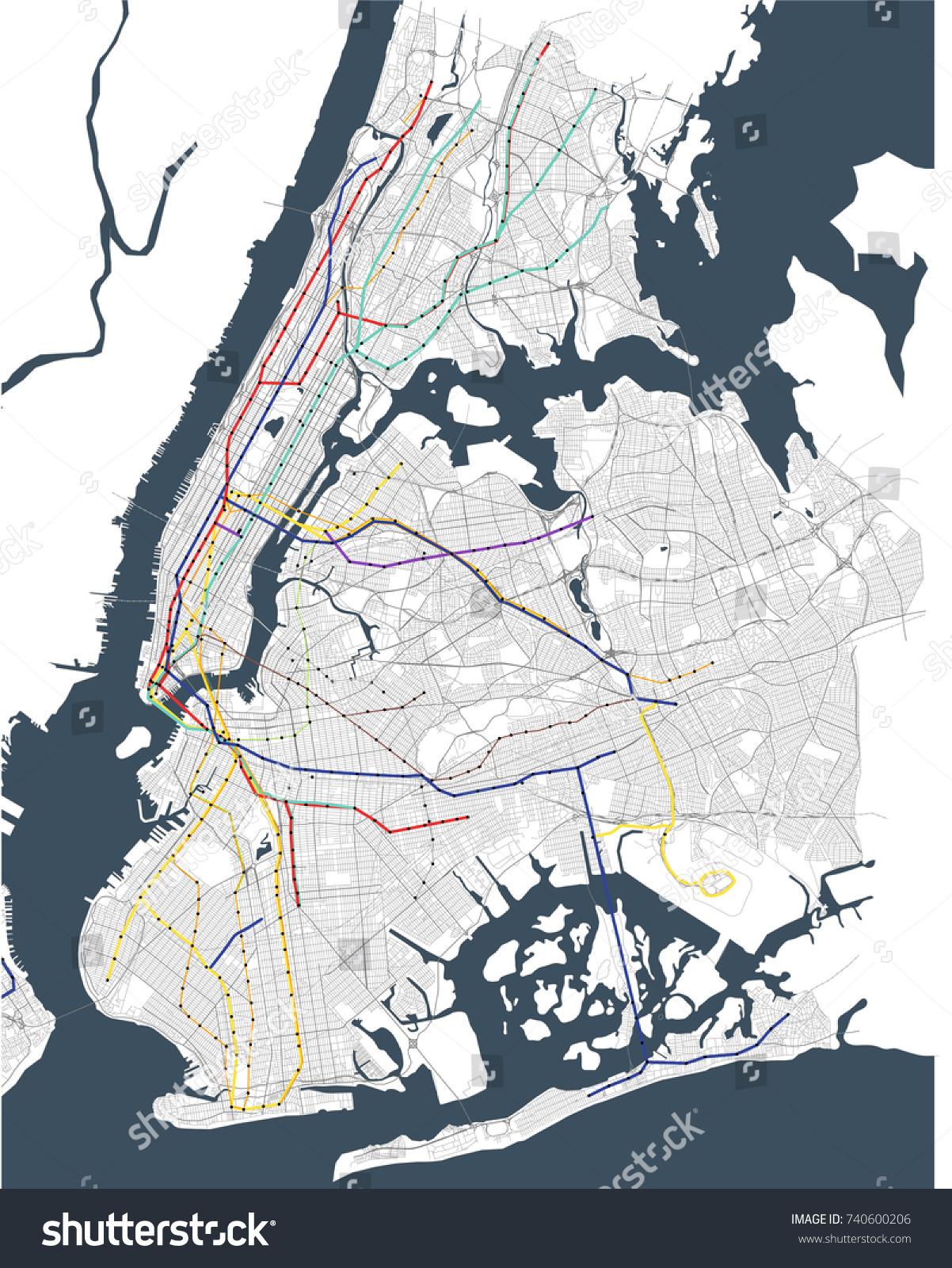 Illustration Map Metro New York City Stock Illustration 740600206