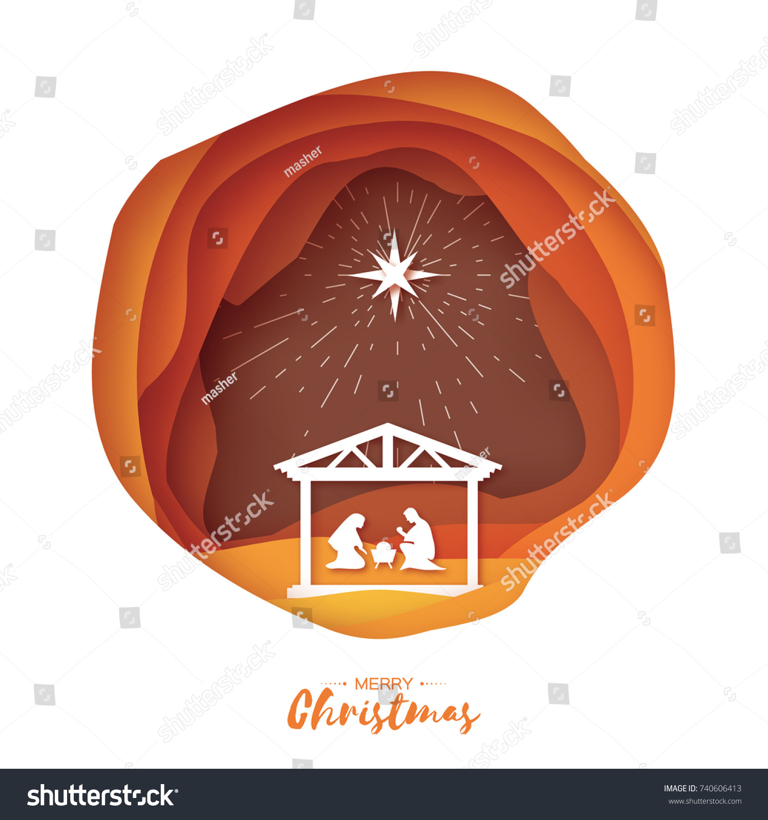 Birth Christ Baby Jesus Manger Holy Stock Vector HD (Royalty Free ...
