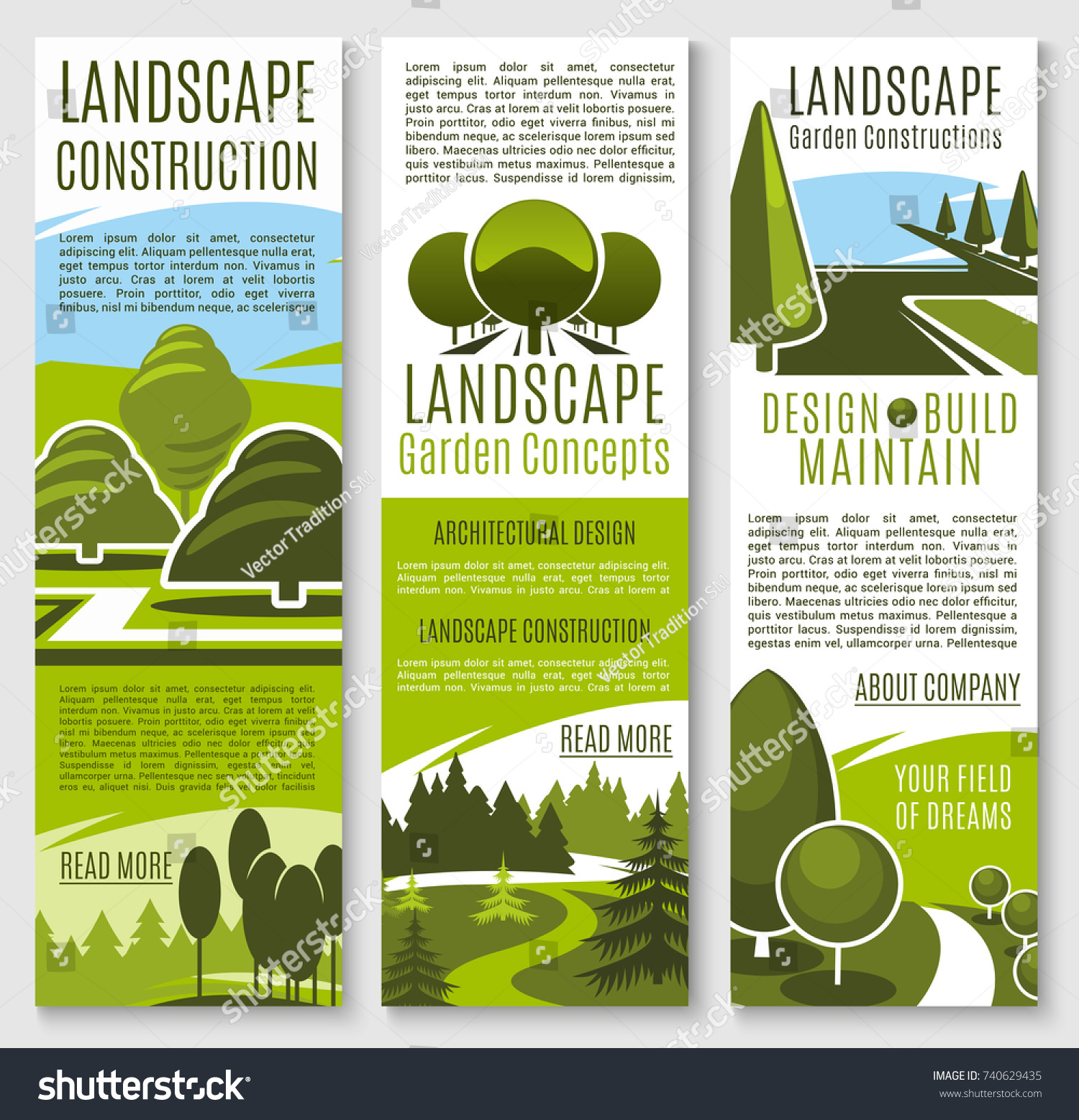 Gardening Or Landscape Construction Company Banners For Urban Horticulture  And Garden Planting Association. Green Parks
