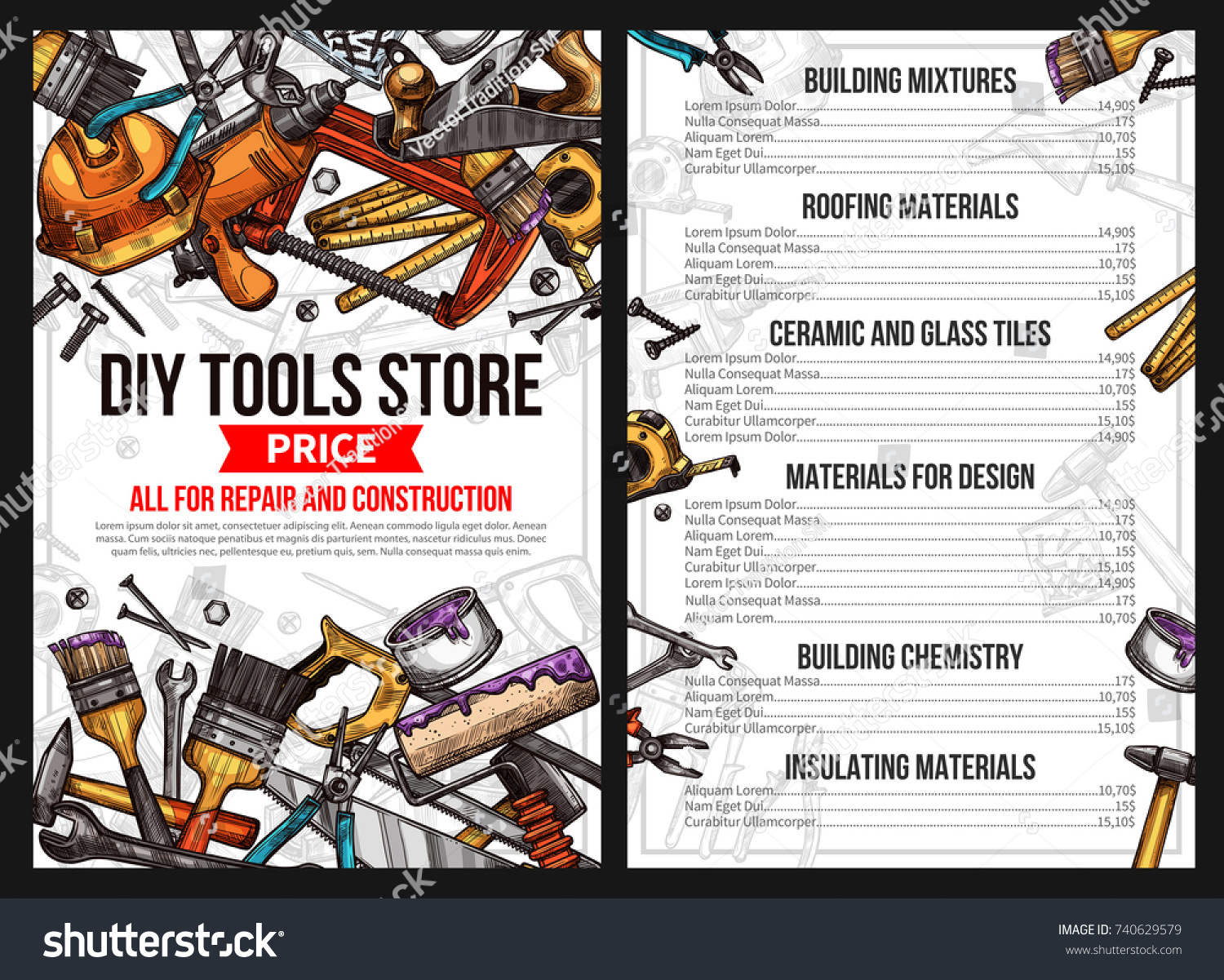 DIY Work Tools Store Price List For House Repair Or Handyman Construction  Service. Vector Sketch