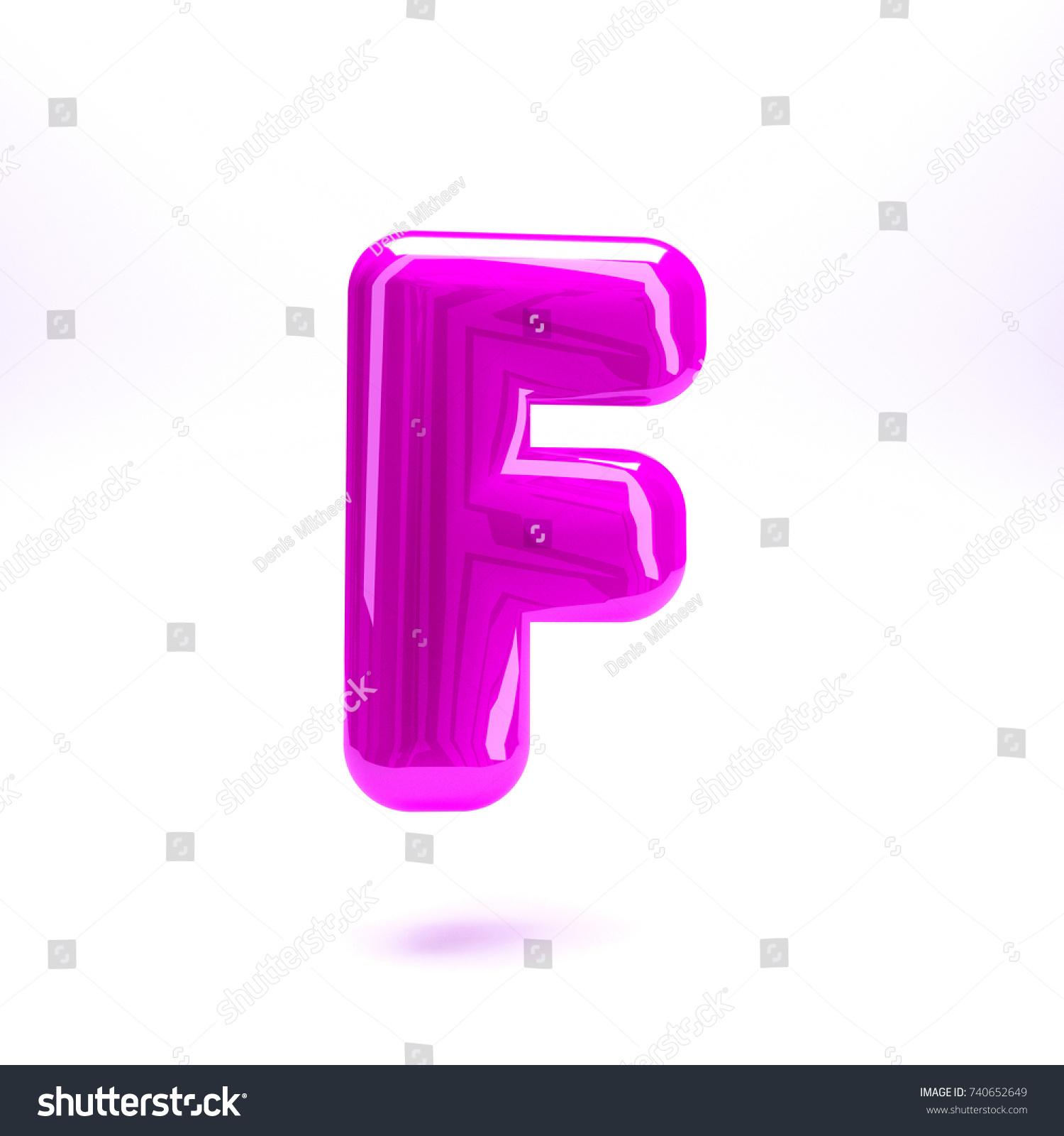 Purple indigo glossy celebrate letter F bold and uppercase. 3D ...
