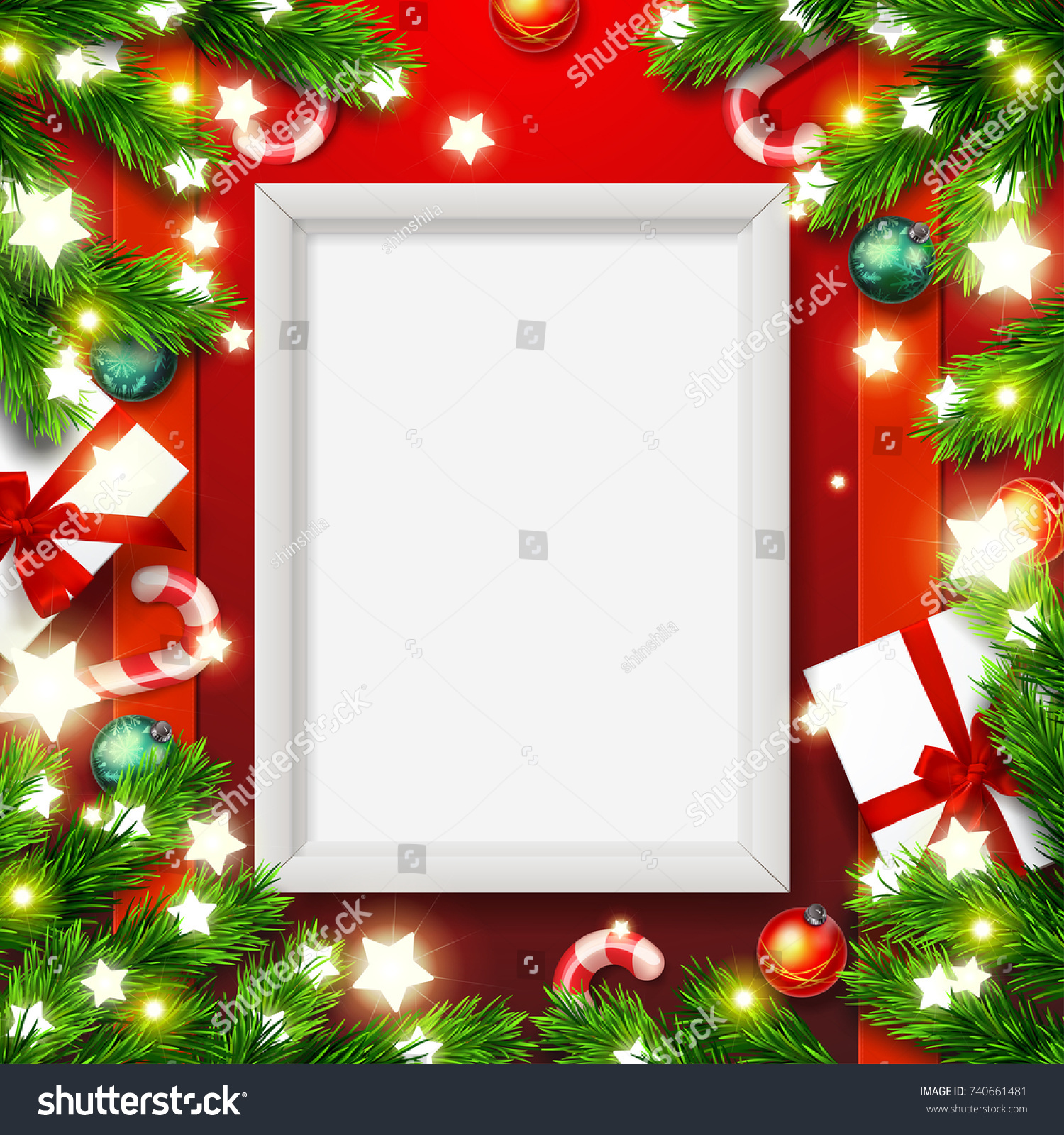 Vector Empty Mock Poster Frame Merry Stock Vector (2018) 740661481 ...