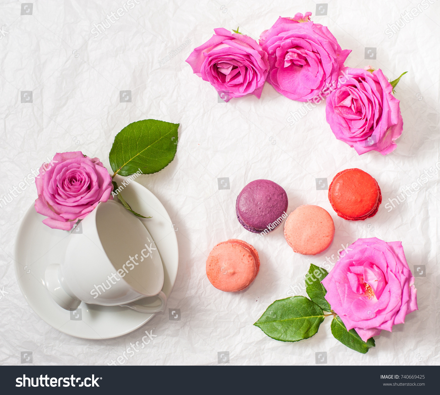 Colorful Macarons Surrounded By Vivid Pink Rose Flowers And A White