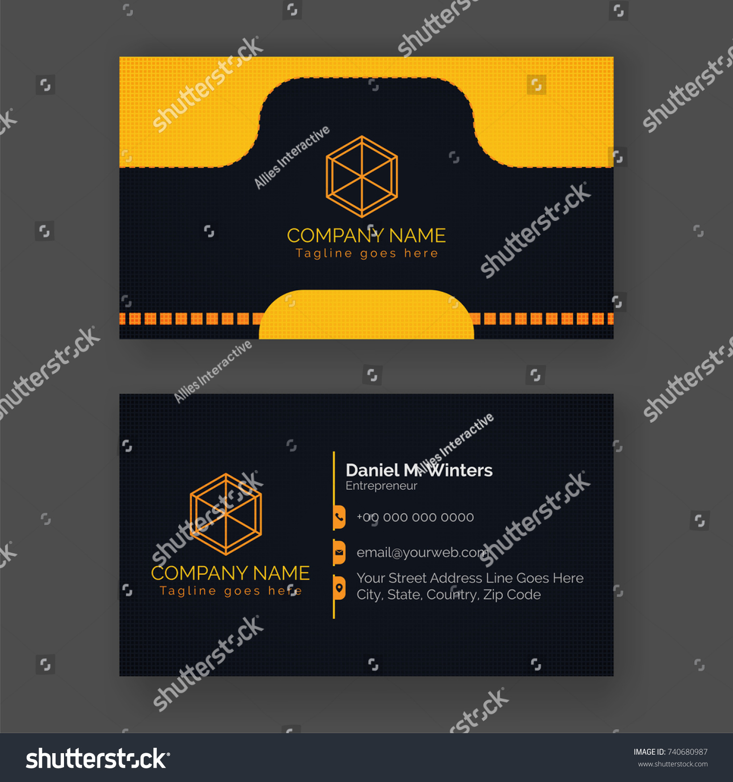 Front back view business card yellow stock vector 740680987 front and back view of business card in yellow and black color combination colourmoves Choice Image