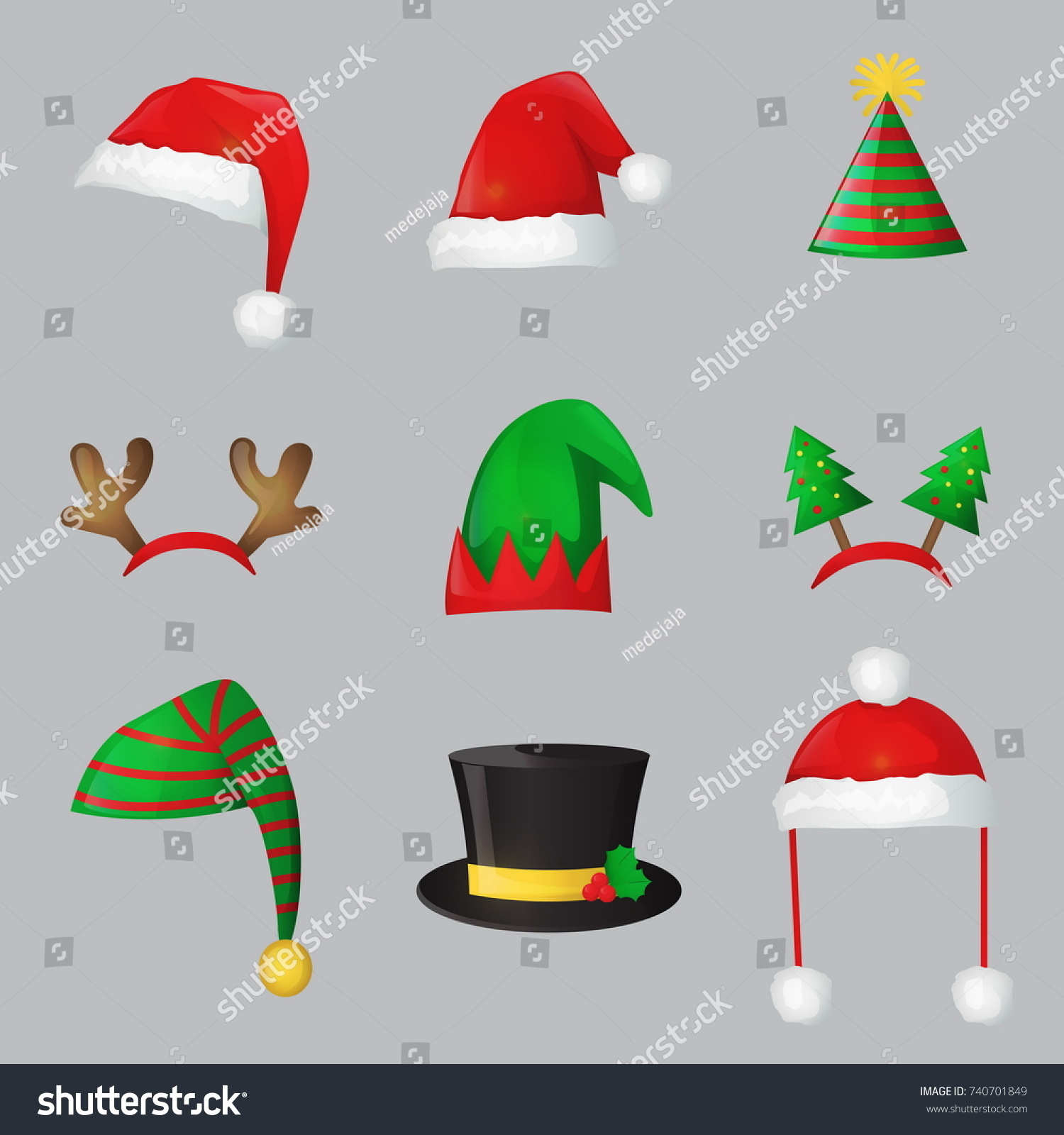 Christmas Festive Collection Cute Celebration New Stock Vector ...