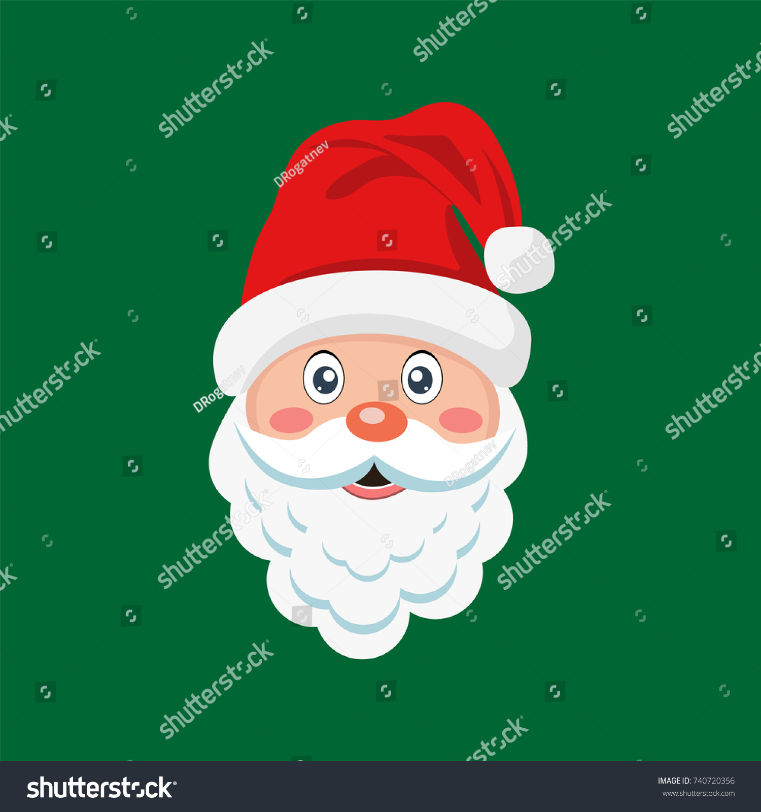 Santa Claus icon. Christmas card template. Colorful illustration ...