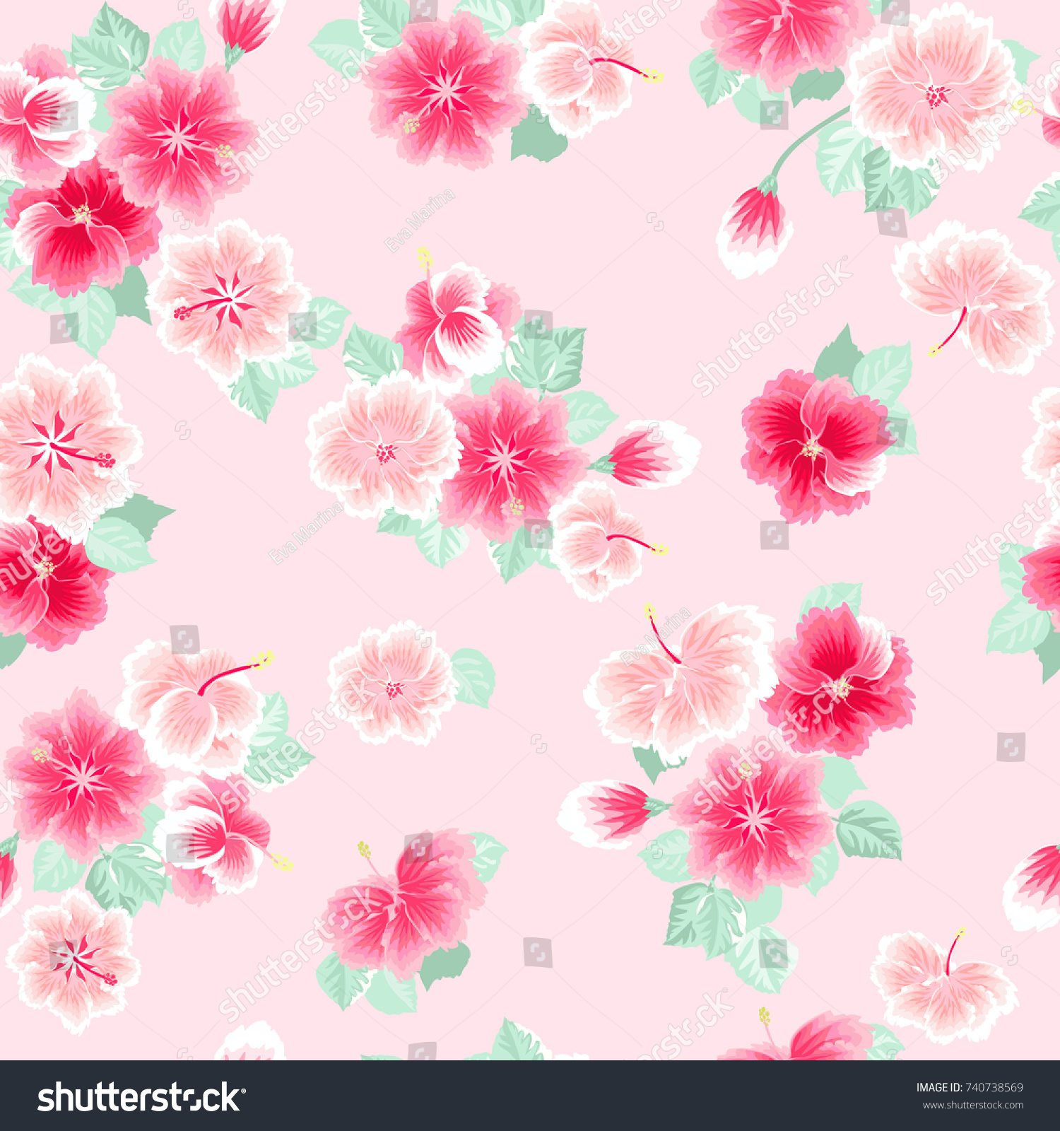 Charming Pattern Small Lovely Pink Flowers Stock Illustration