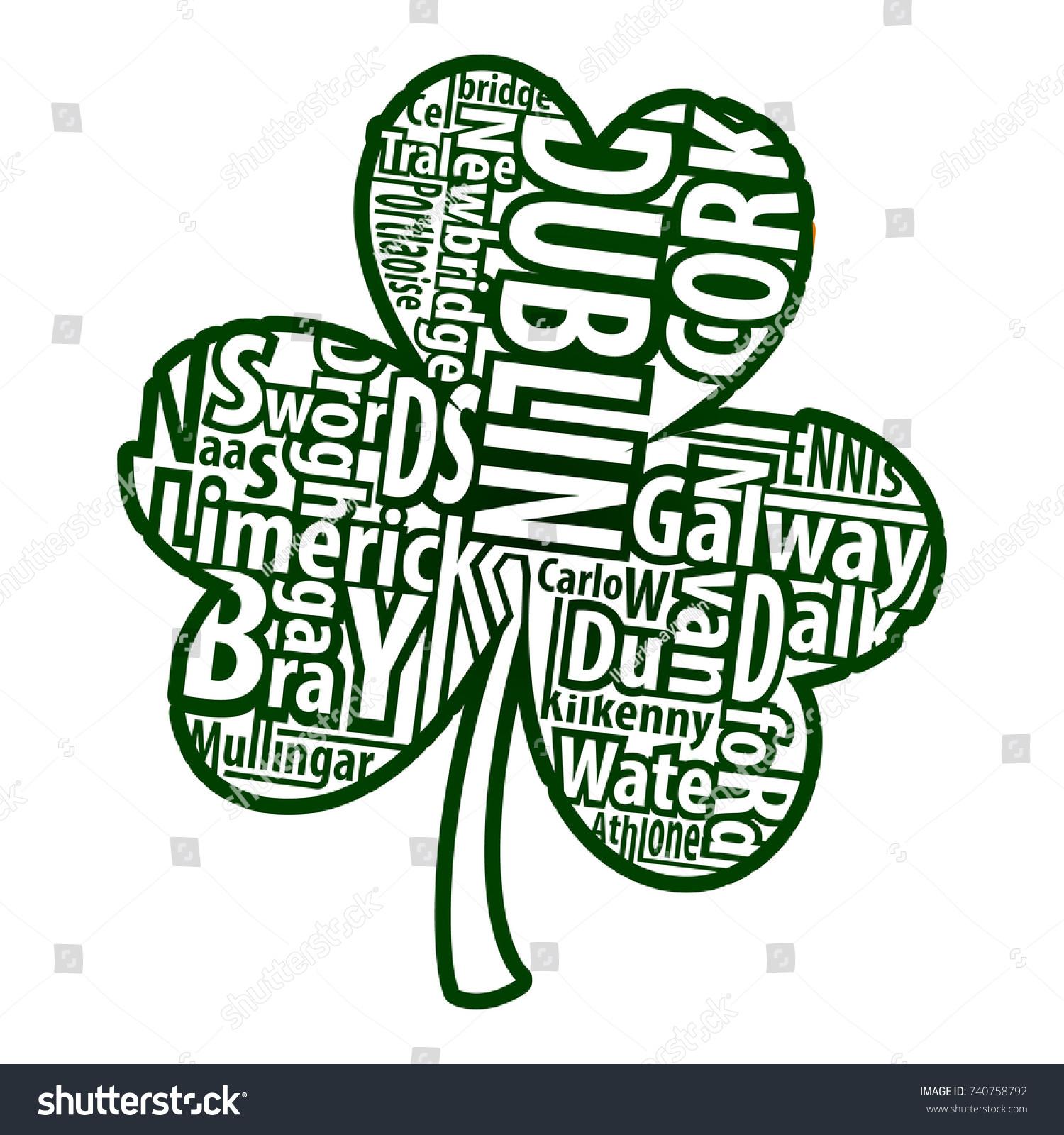 Irish shamrock vector art names biggest stock vector 740758792 irish shamrock vector art with the names of the biggest cities of ireland for st biocorpaavc Gallery