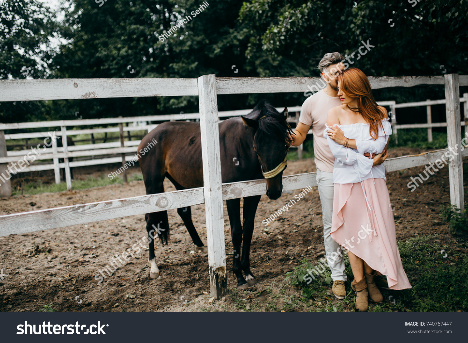 Beautiful Couple Horse Stables Stock Photo Edit Now 740767447