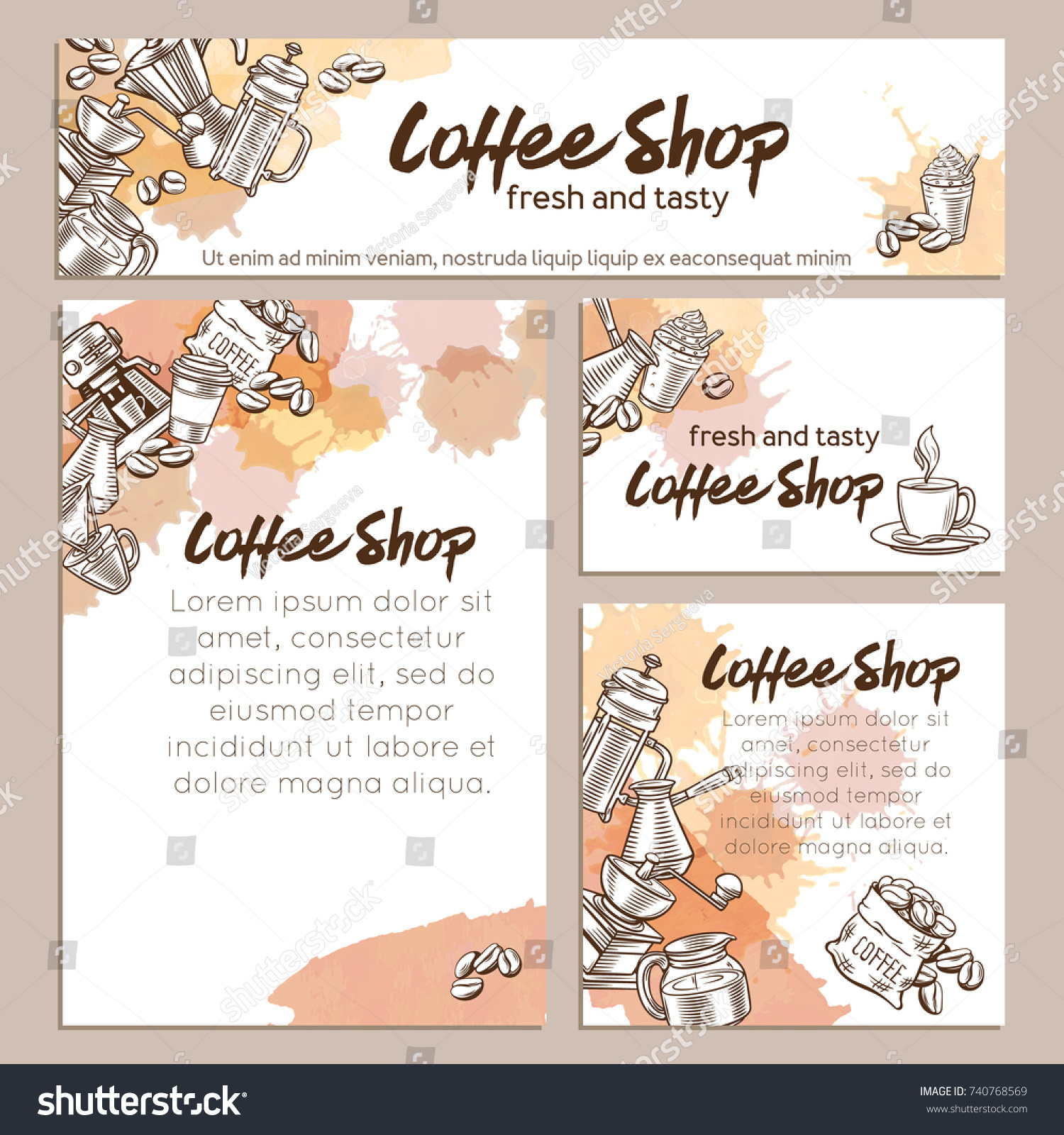 Identity Vector Template Coffee Page Decoration Stock Vector ...