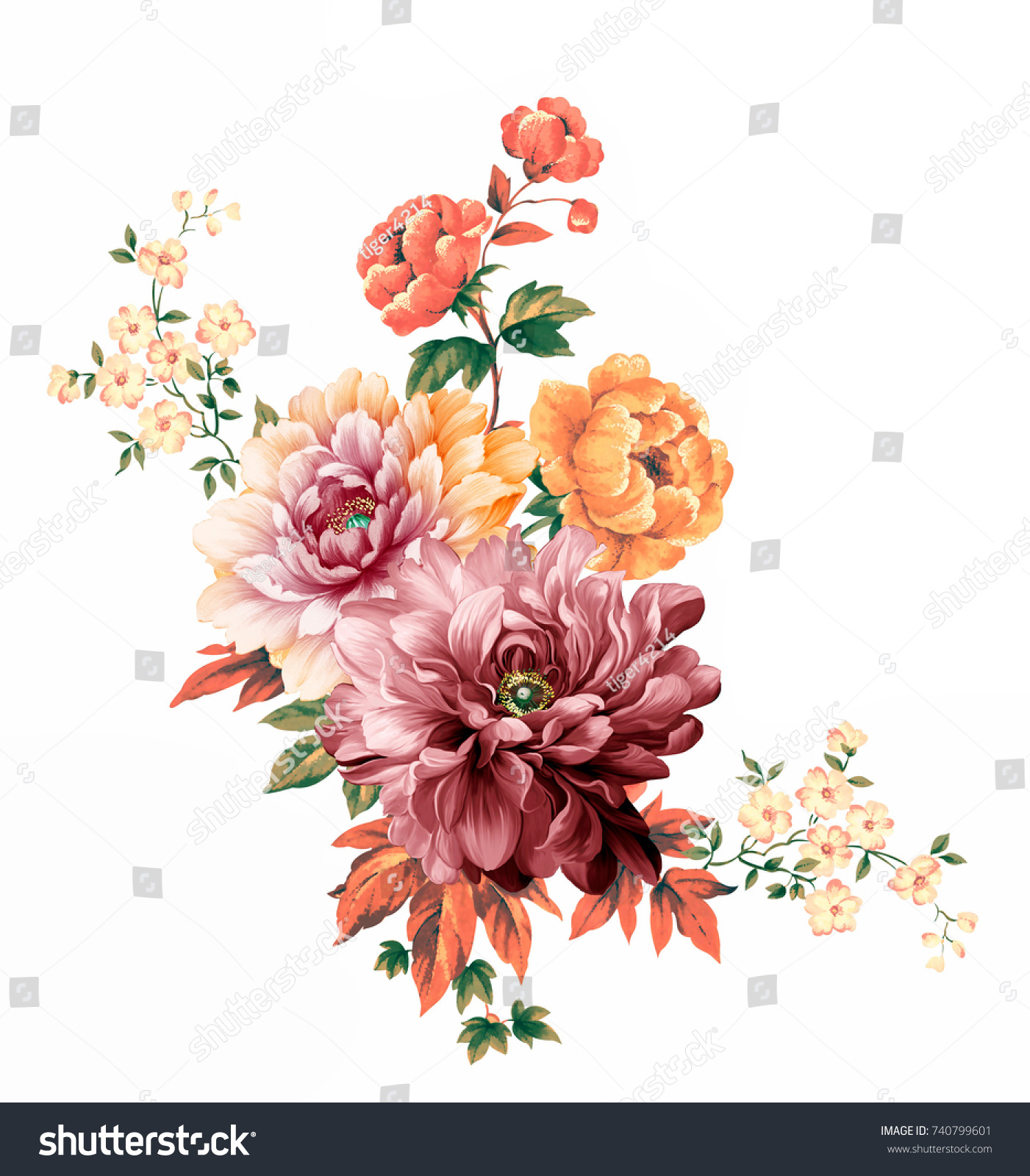 Flowers are full of romance the leaves and flowers art design