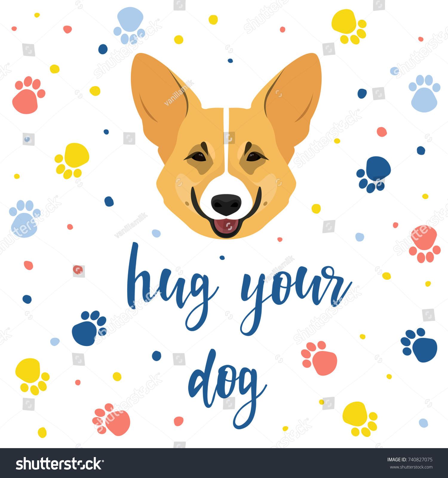 New Year Dog Card Template Cute Stock Vector 740827075 - Shutterstock