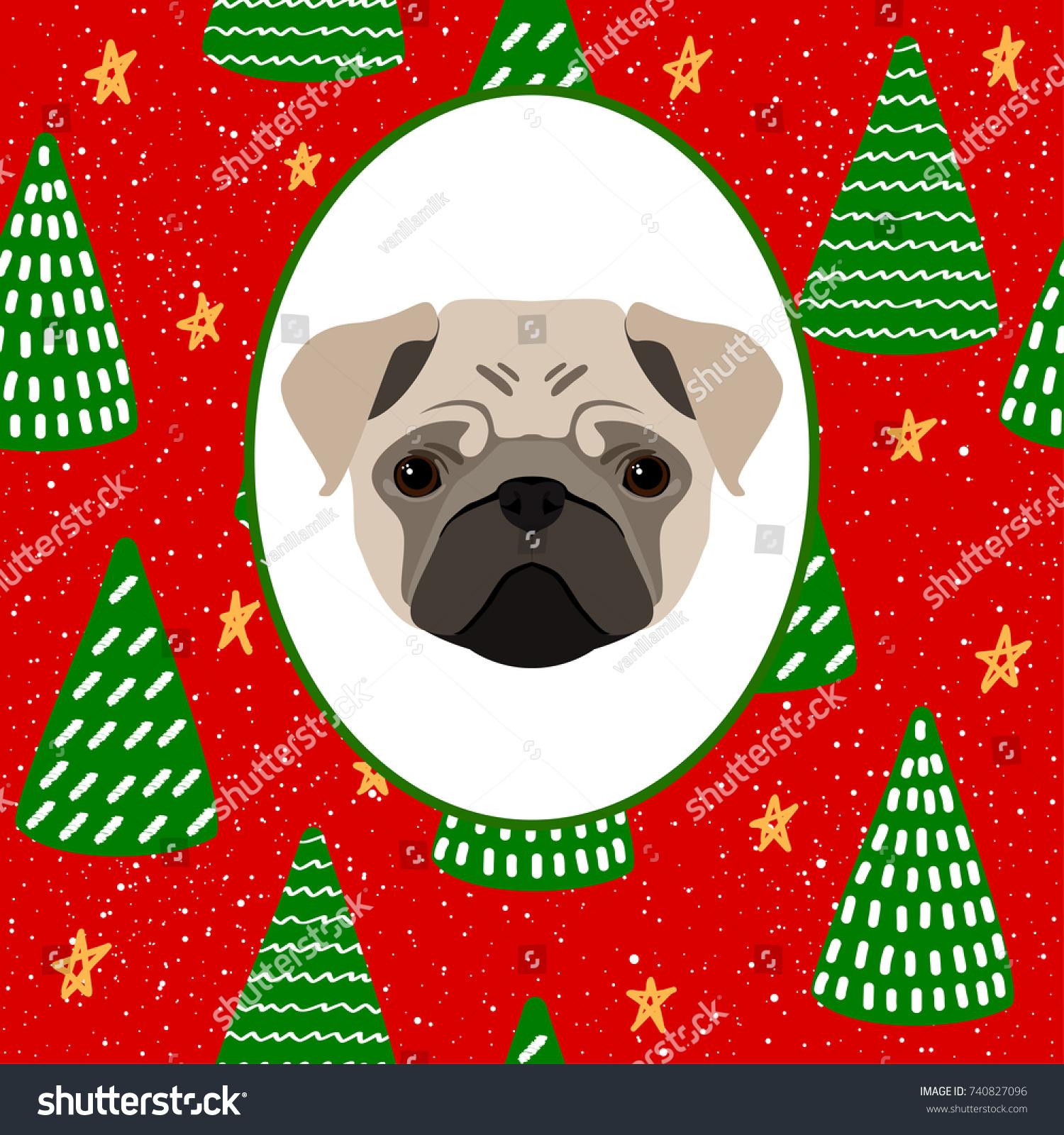 New Year Dog Card Template Cute Stock Vector 740827096 - Shutterstock