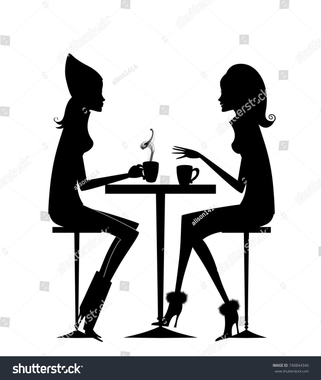 silhouette two friends having coffee hotのイラスト素材 740844340