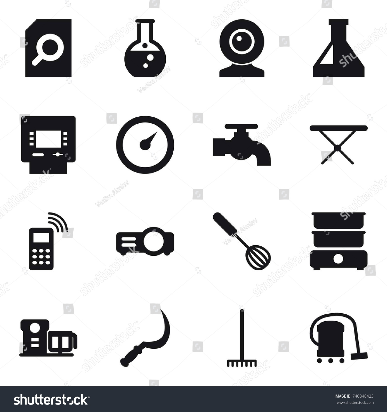 16 Vector Icon Set Search Document Stock Royalty Free Barometer Signal Conditioner Round Flask Web Cam Atm