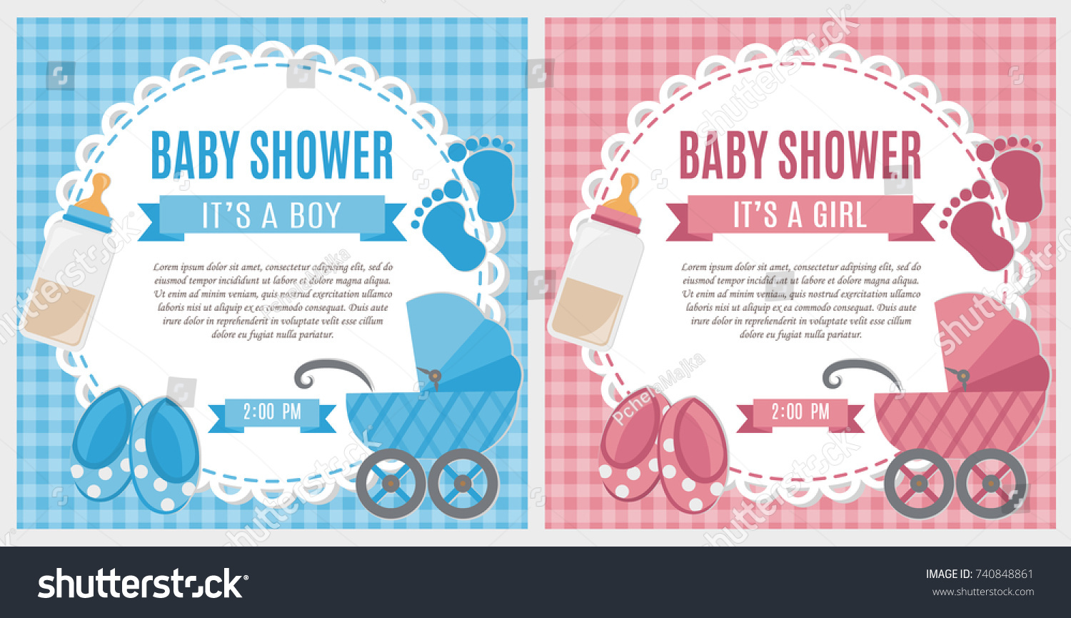 Set baby shower invitation card baby stock vector royalty free set of baby shower invitation card baby frame with stroller and stickers on striped background filmwisefo