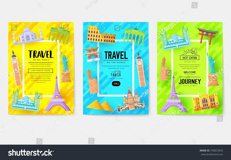 Travel Information Cards Landscape Template Flyer Vector de stock ...
