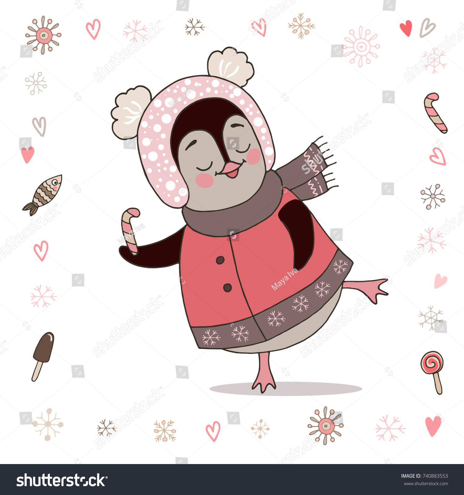 Cute Mom Penguin Dancing Illustration Stock Vector